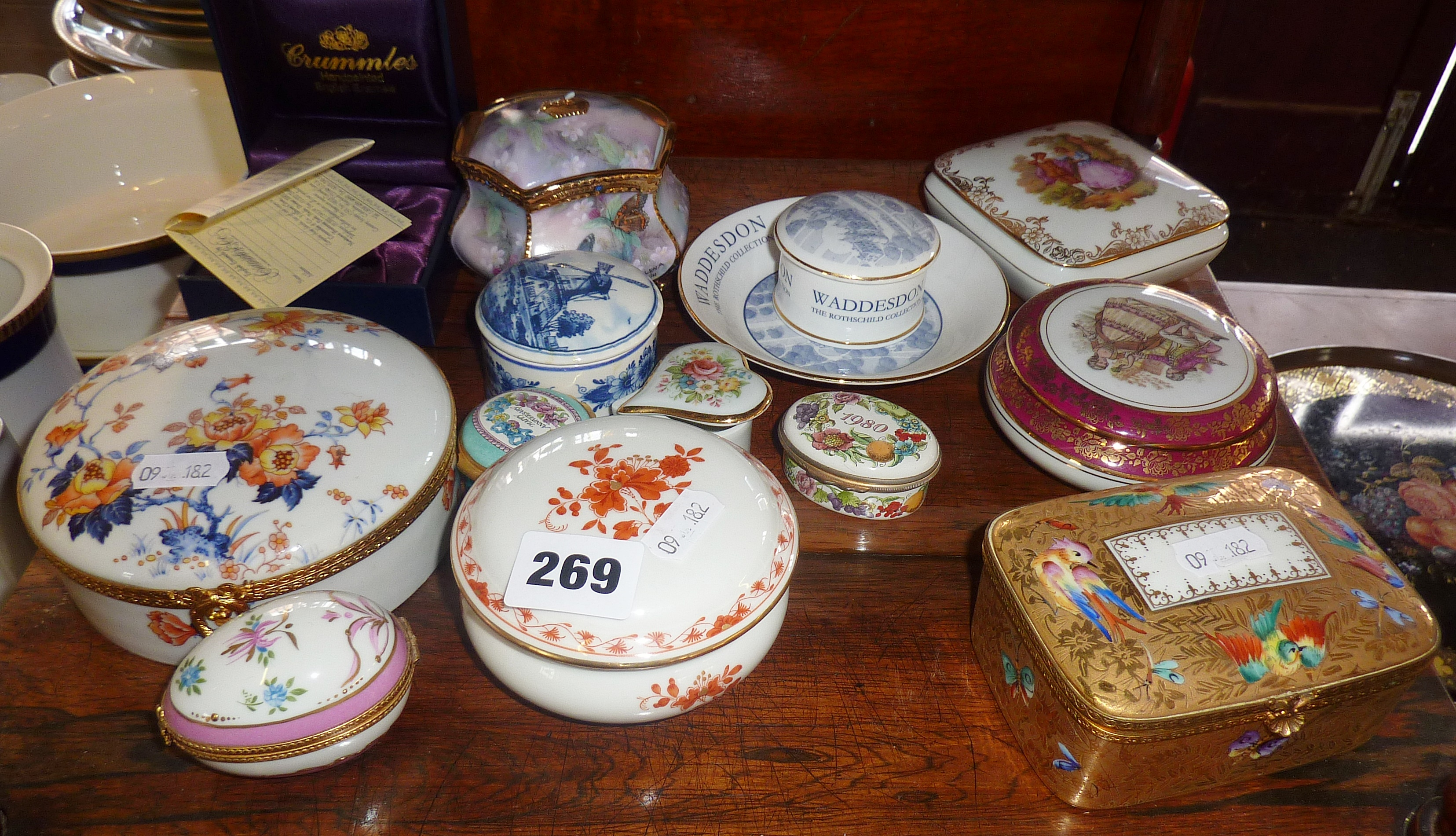 Lot 269 - Collection of assorted porcelain and china boxes (12)