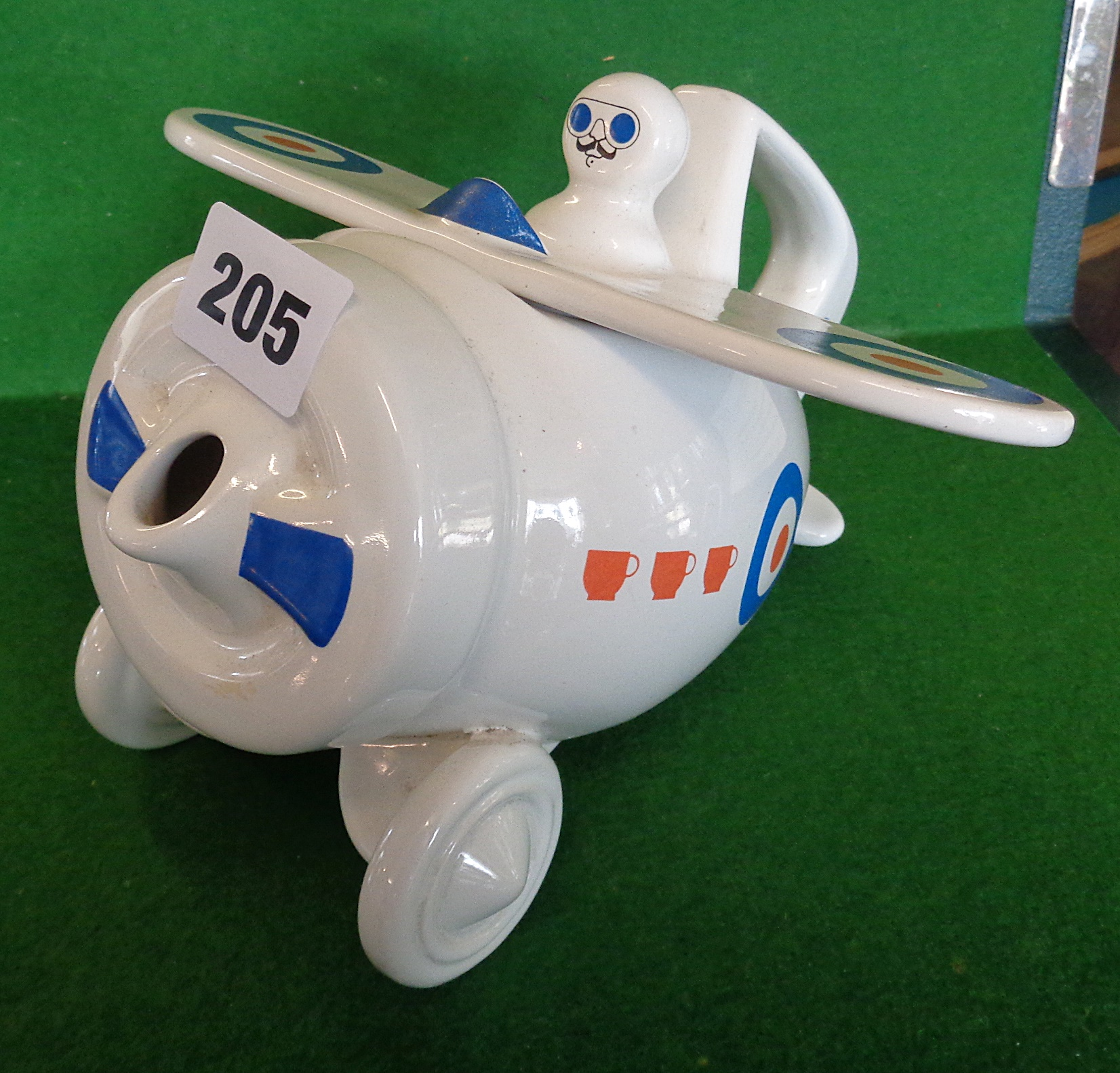 Lot 205 - A Westfield Art Pottery teapot in the form of a stylised WW1 aeroplane