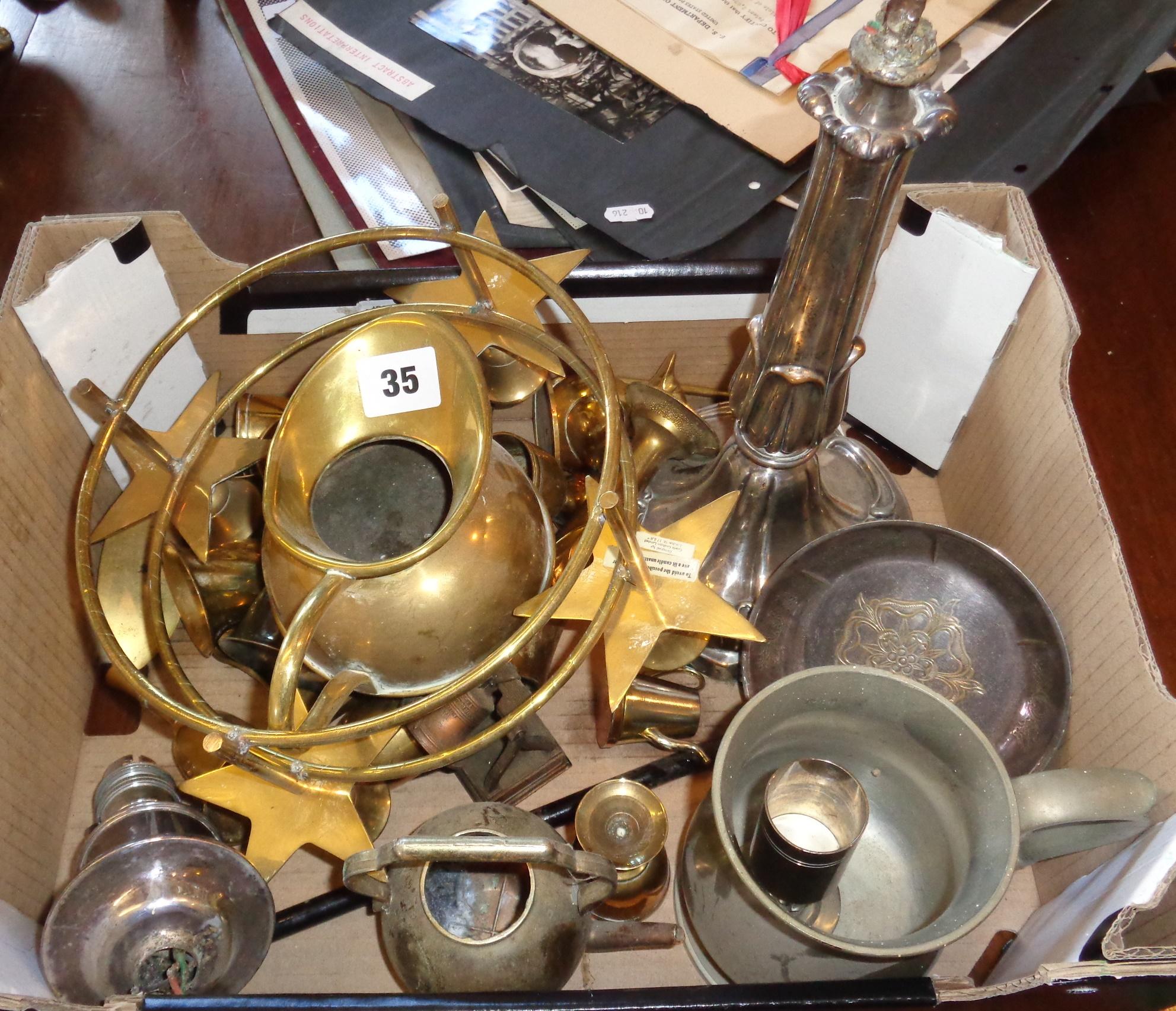 Lot 35 - Box of assorted brassware, etc.