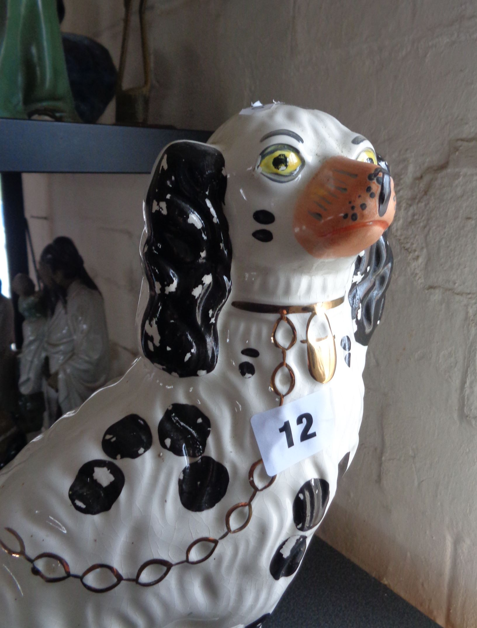 Lot 12 - Pair of large Staffordshire dogs (King Charles Spaniels) and two others