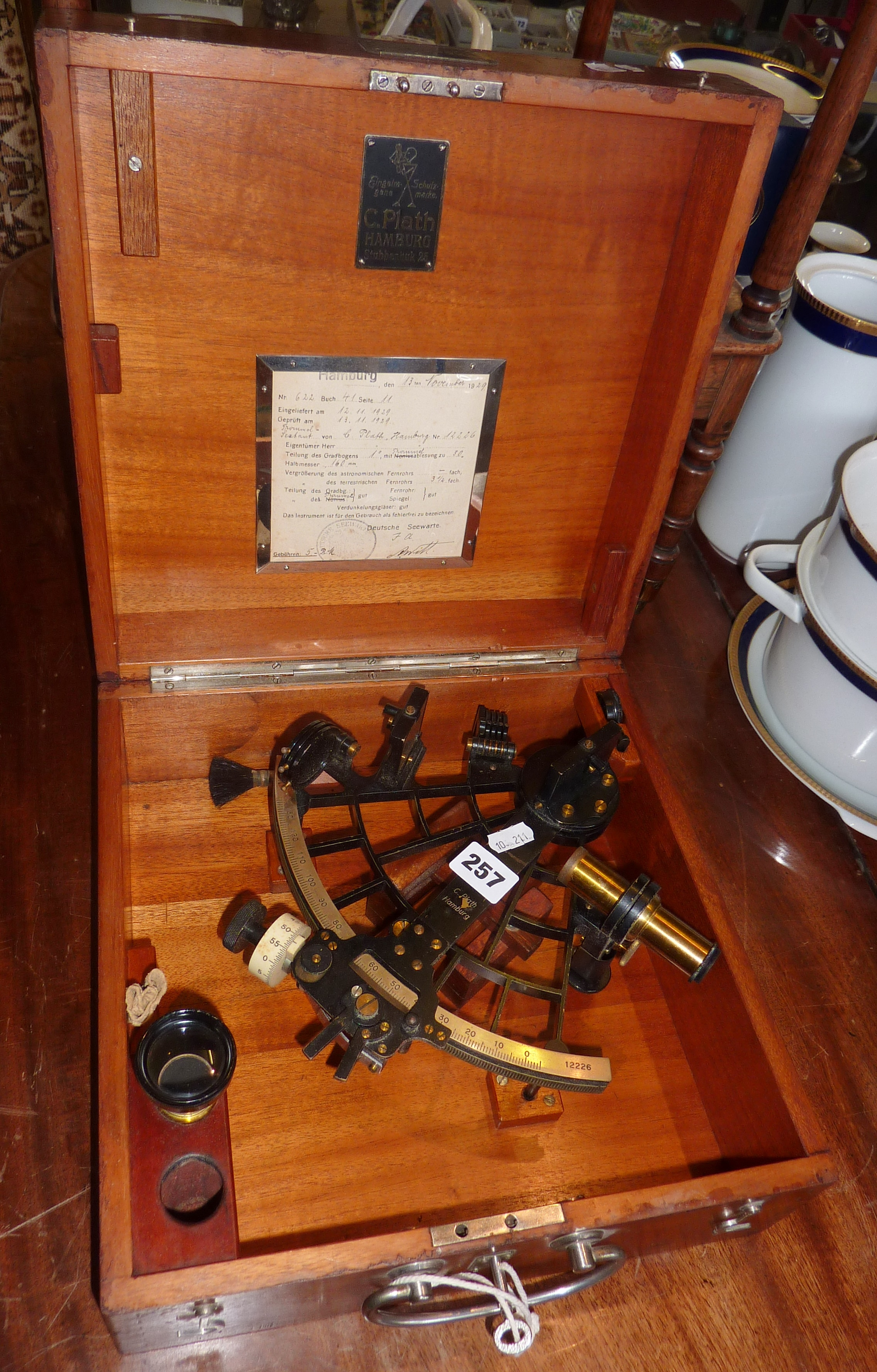 """Lot 257 - Sextant (7"""") by Plath of Hamburg, circa 1920's, in fitted teakwood case with original Deutsche"""
