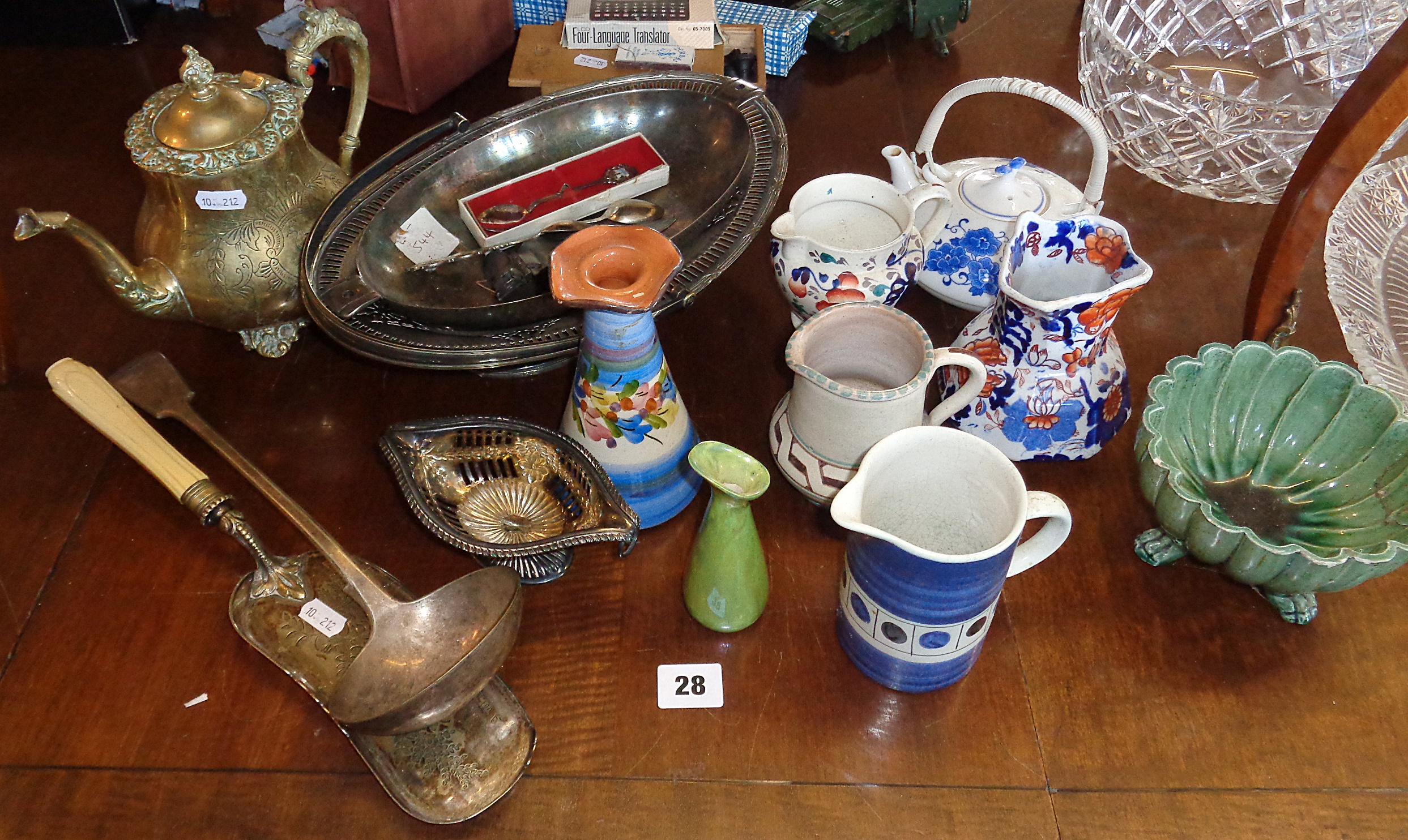 Lot 28 - Four various jugs and vases and silver plated ladle, baskets, etc.