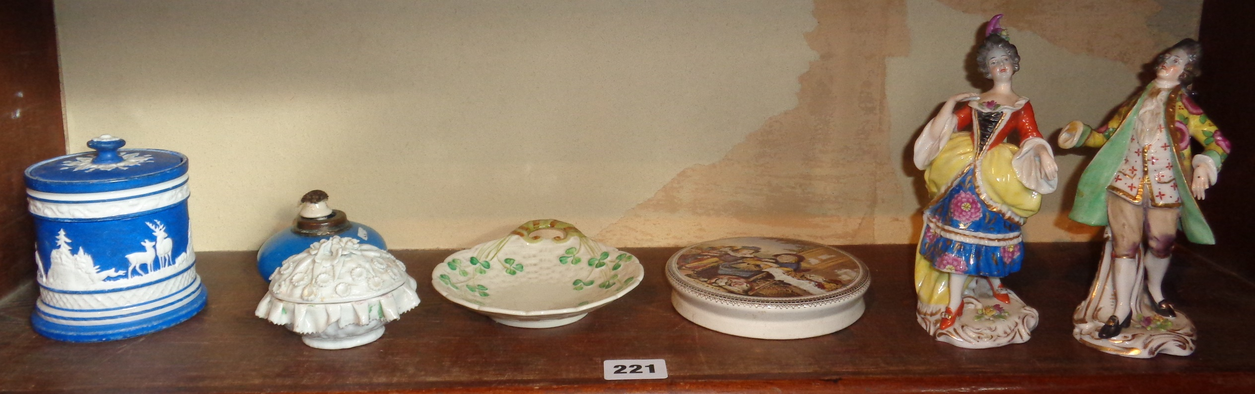 Lot 221 - Belleek dish (green back stamp), pair Chelsea Derby figures with gold anchor mark (A/F), other china