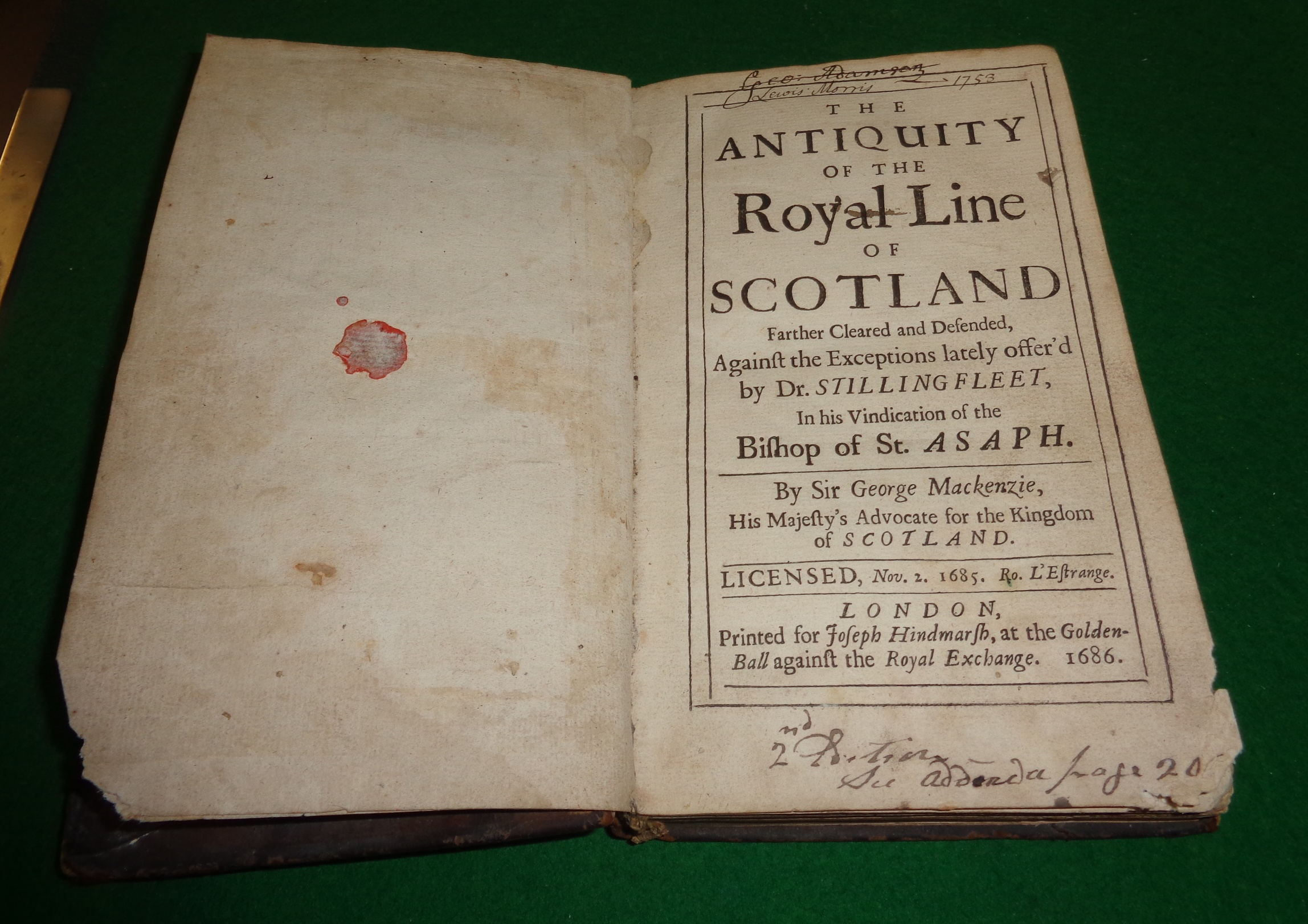 Lot 233 - 'The Antiquity of the Royal Line of Scotland', 1685 by Sir George Mackenzie, printed for Joseph