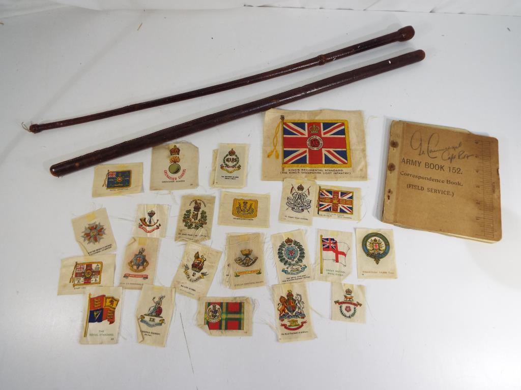Lot 58 - Lot to include two leather covered swagger sticks,