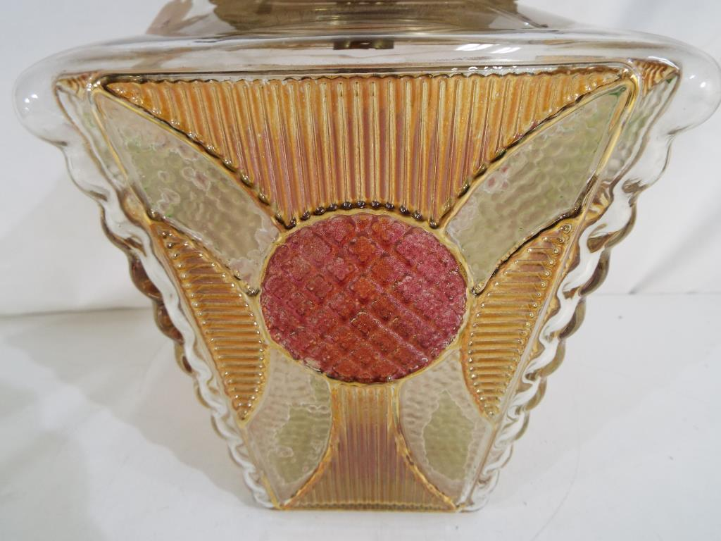 Lot 9 - A good quality glass lantern with gilded highlights stained glass and relief decoration 30cm (h) x