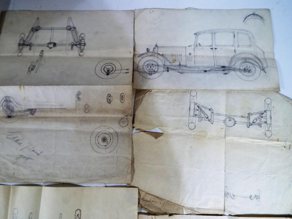 Lot 39 - A set of drawings of a sedan with internal mechanisms of chassis,