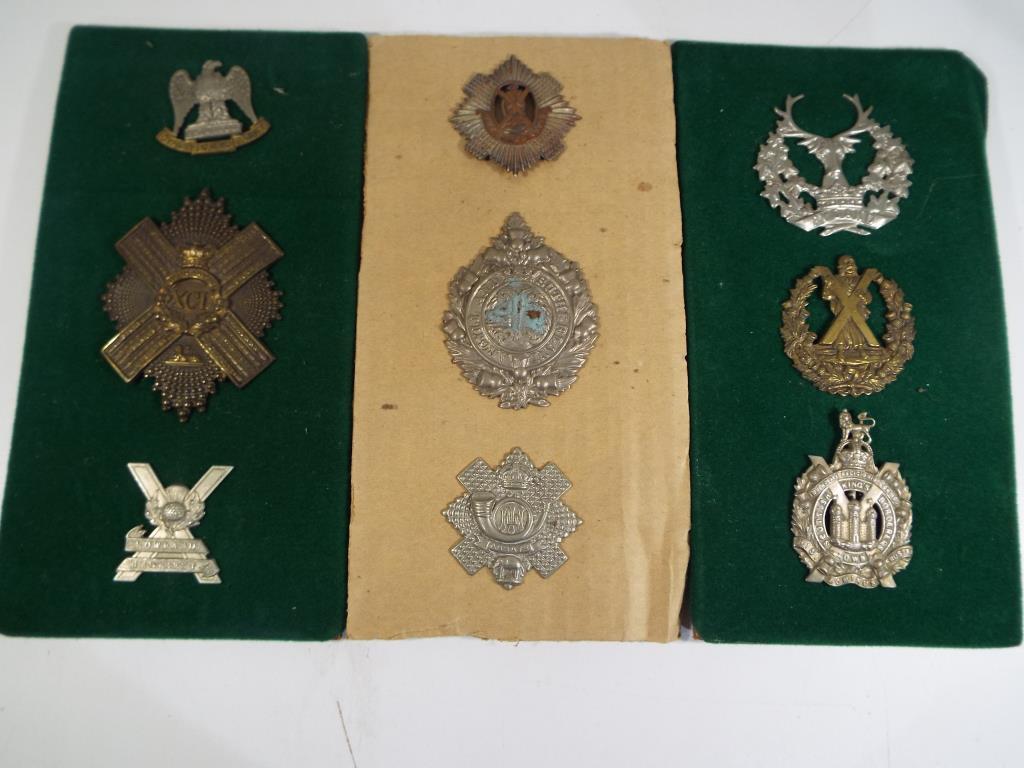 Lot 56 - Nine regimental badges, Argyles, HLI, Royal Scots, Gordon Highlanders, Scottish Kings Borderers,