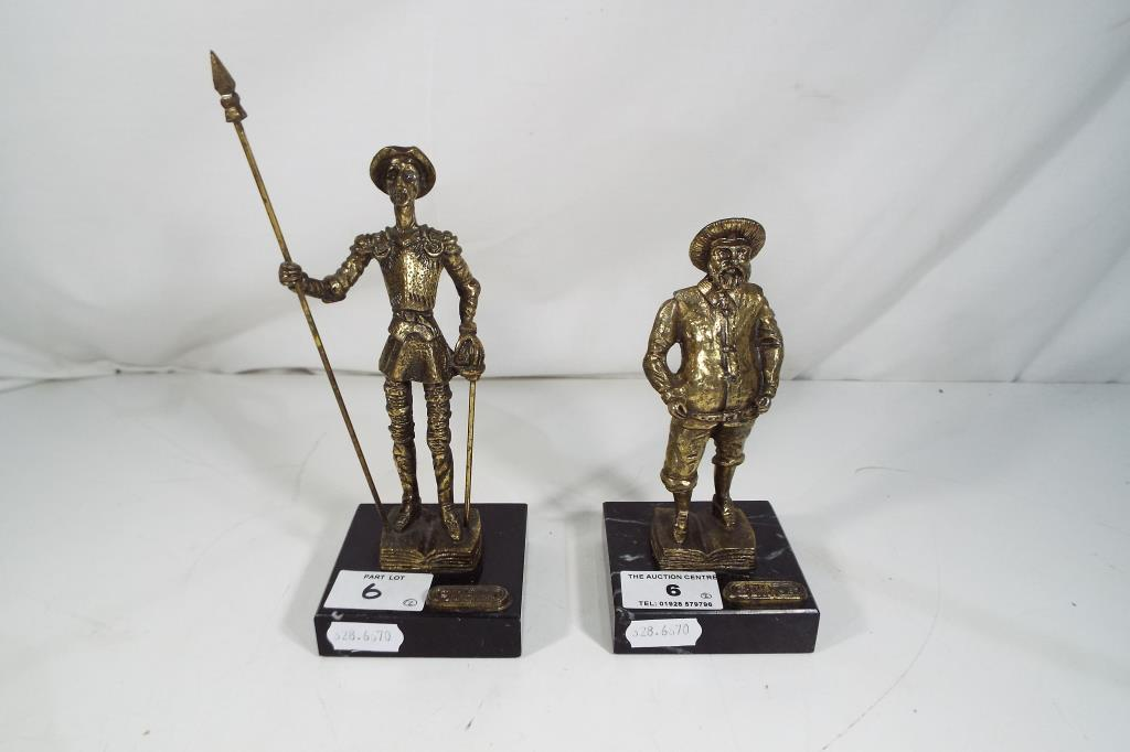 Lot 6 - Two cast metal figurines on black marble plinths marked Style Bronze the largest approx 19.