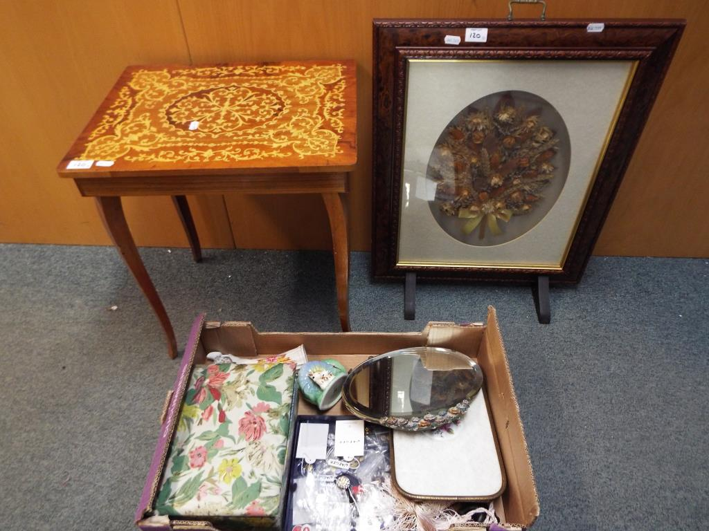 Lot 120 - Lot to include sewing table and accessories, corn sampler fire screen, ceramics and similar.