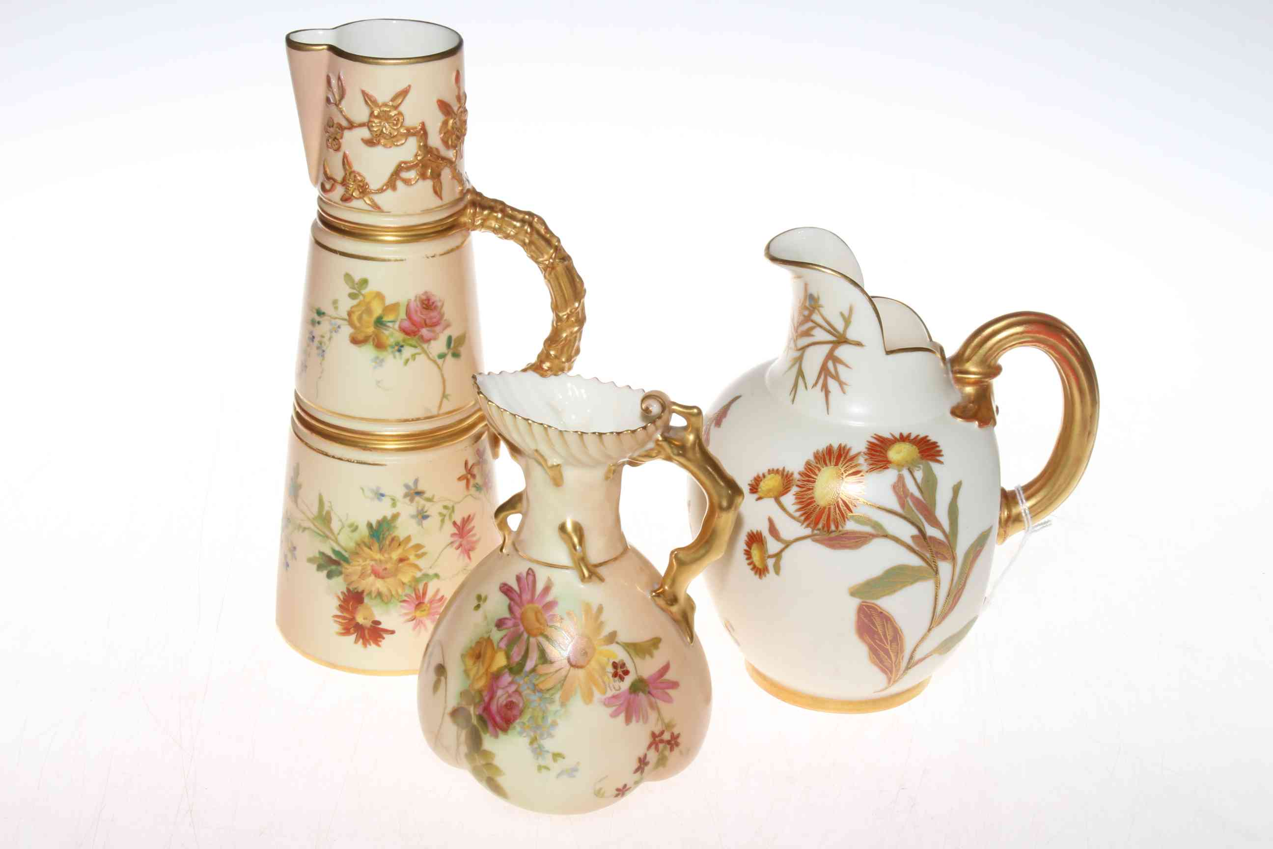 Lot 305 - Late 19th century Royal Worcester blush jug and ewer,