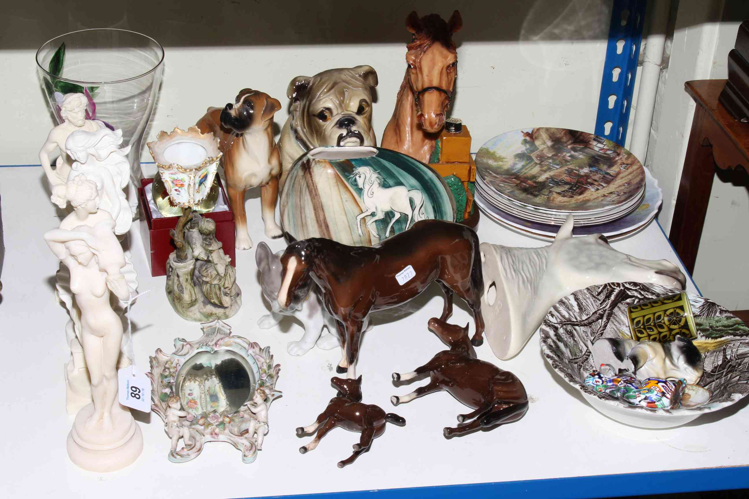 Lot 89 - Beswick and Royal Doulton horses, other animal ornaments, figurines, glass and china.