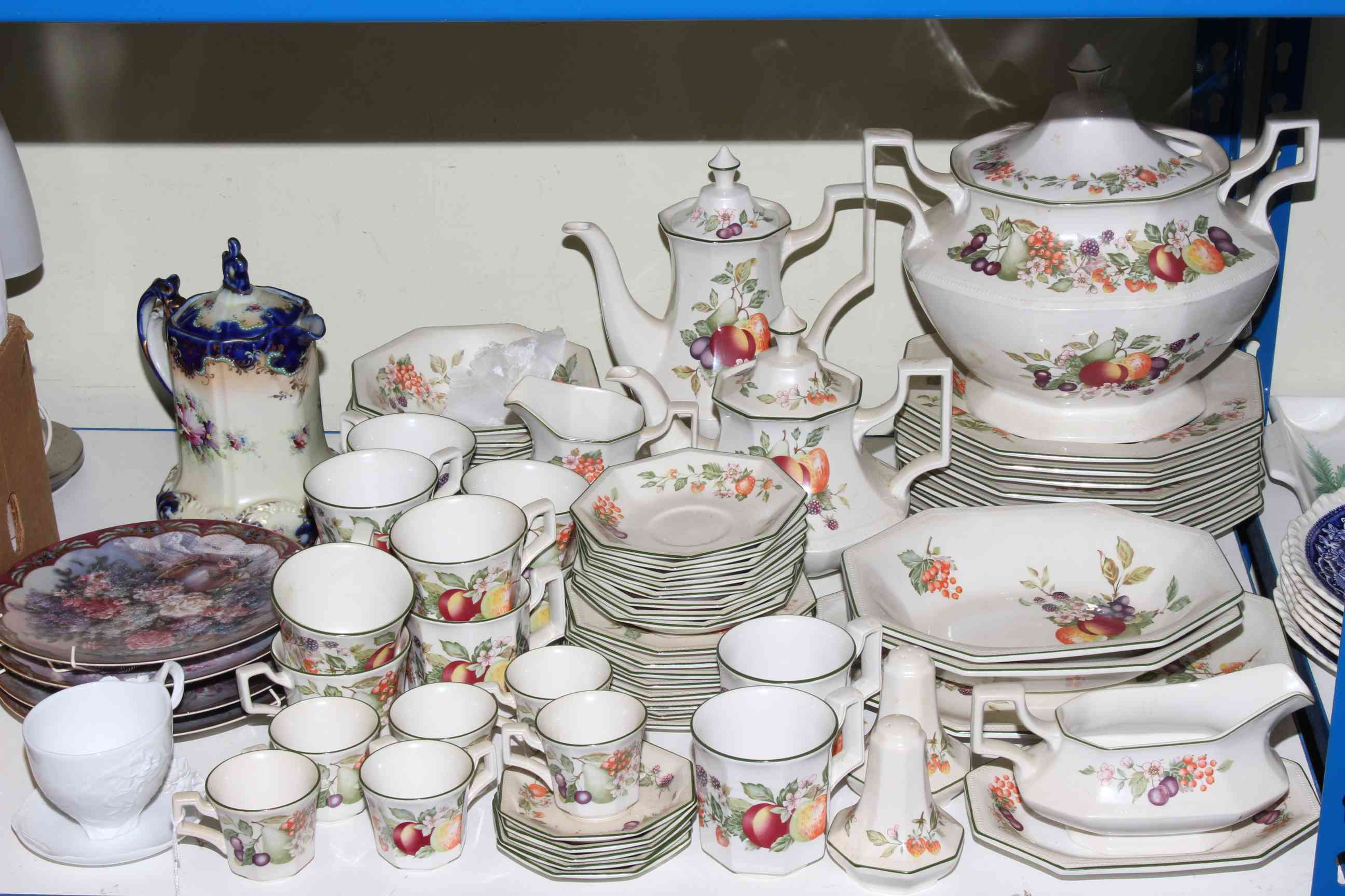 Lot 86 - Johnson Bro's tableware, floral decorated pottery jug,