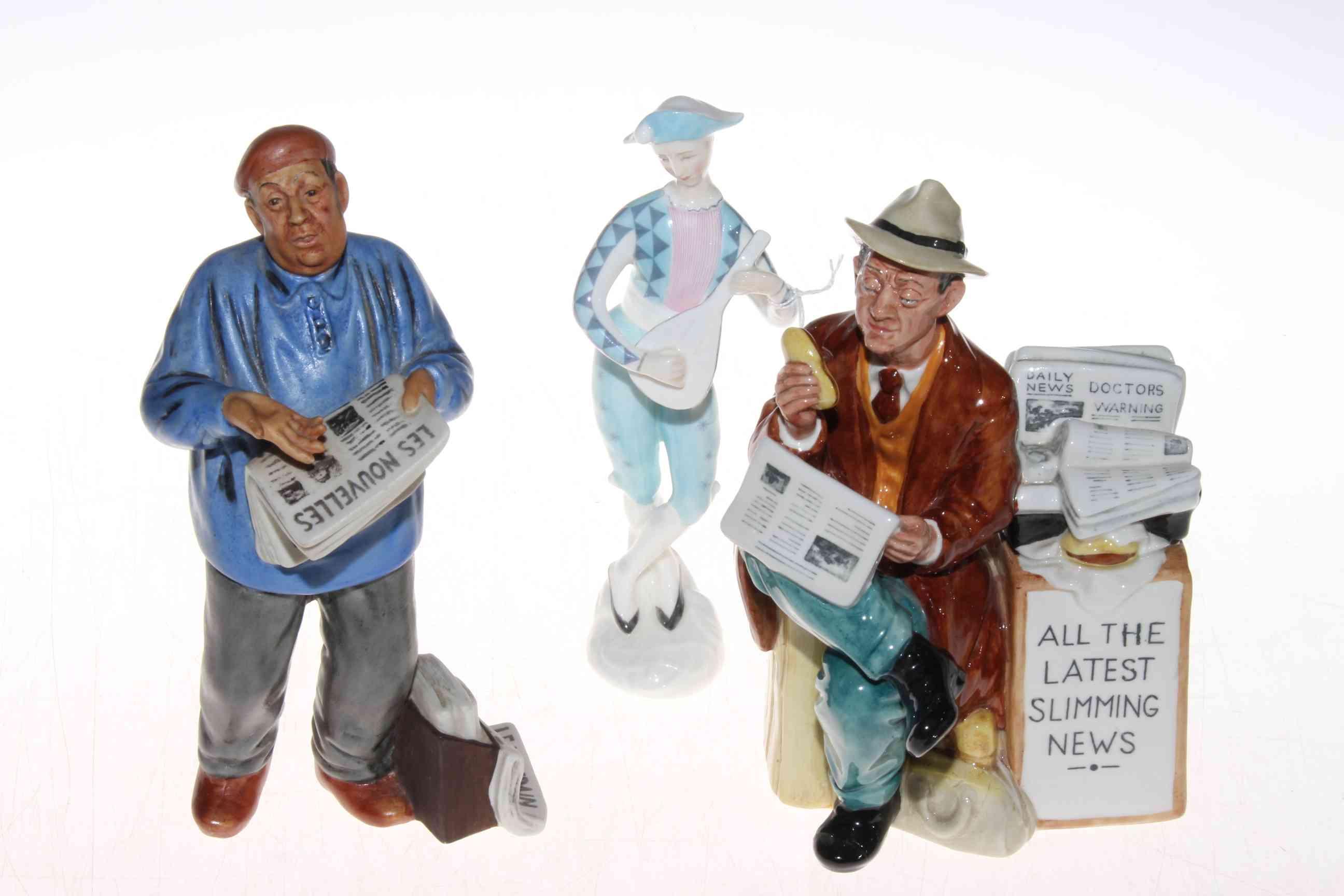 Lot 331 - Three Royal Doulton figurines, Stop Press, The Parisian and Harlequin (3).