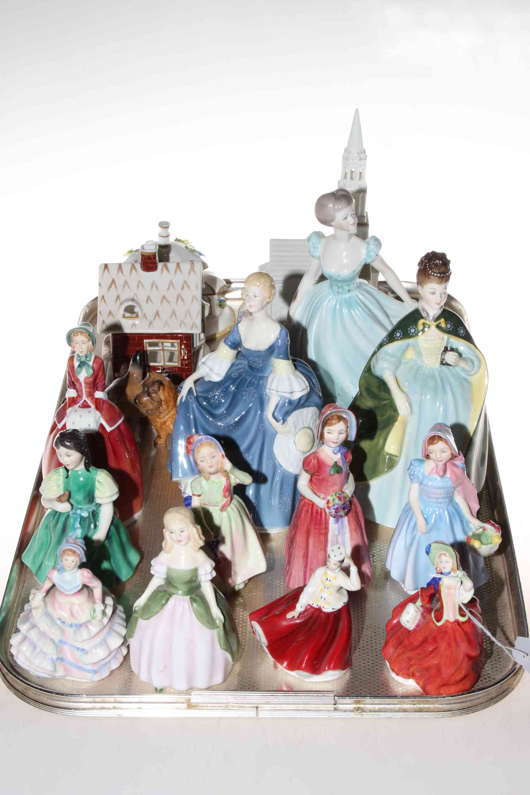 Lot 11 - Ten Royal Doulton and Coalport figurines, Staffordshire Bell figure,