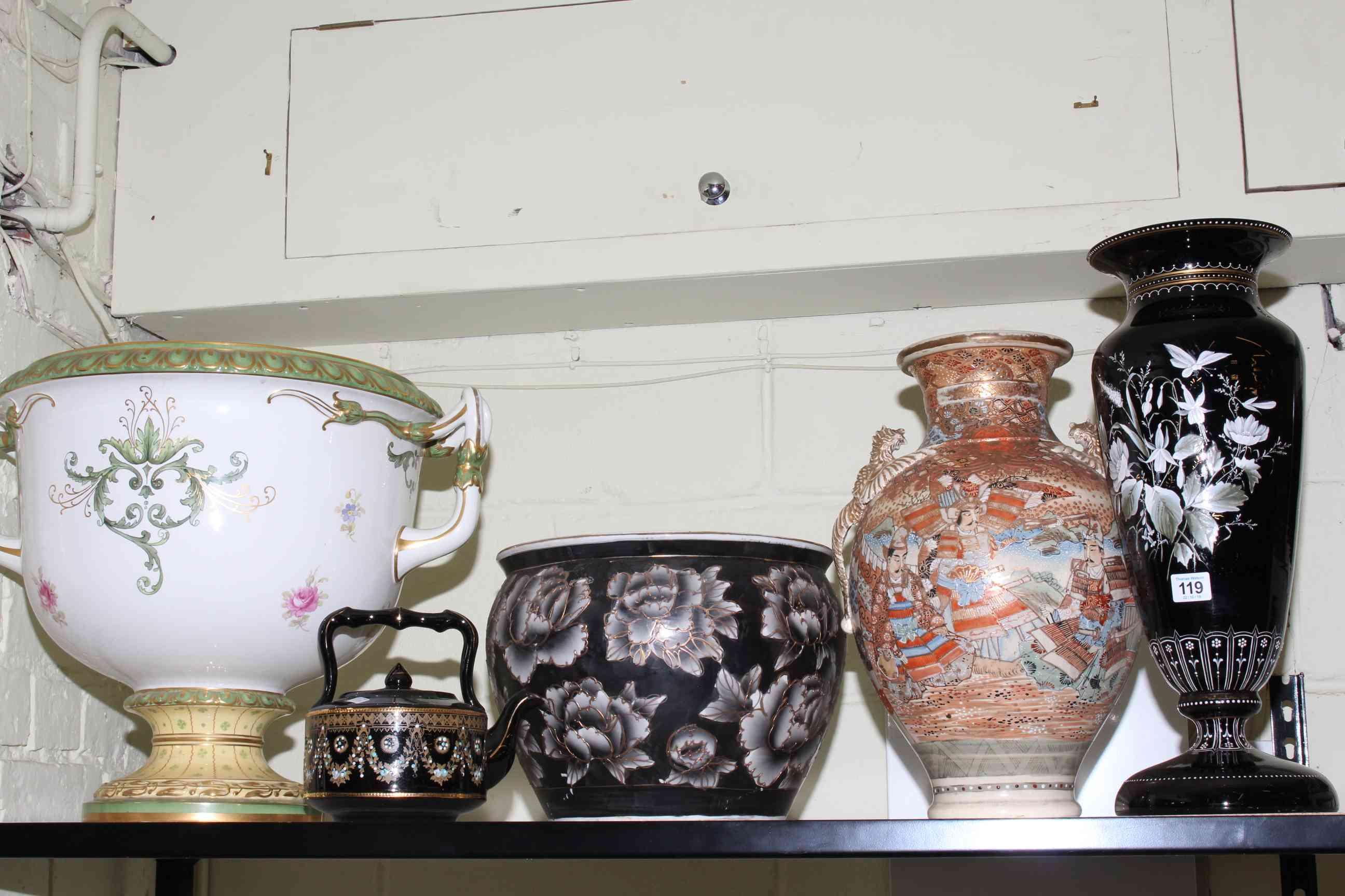 Lot 119 - Satsuma vase, large china urn, jardiniere, floral glass vase and teapot.