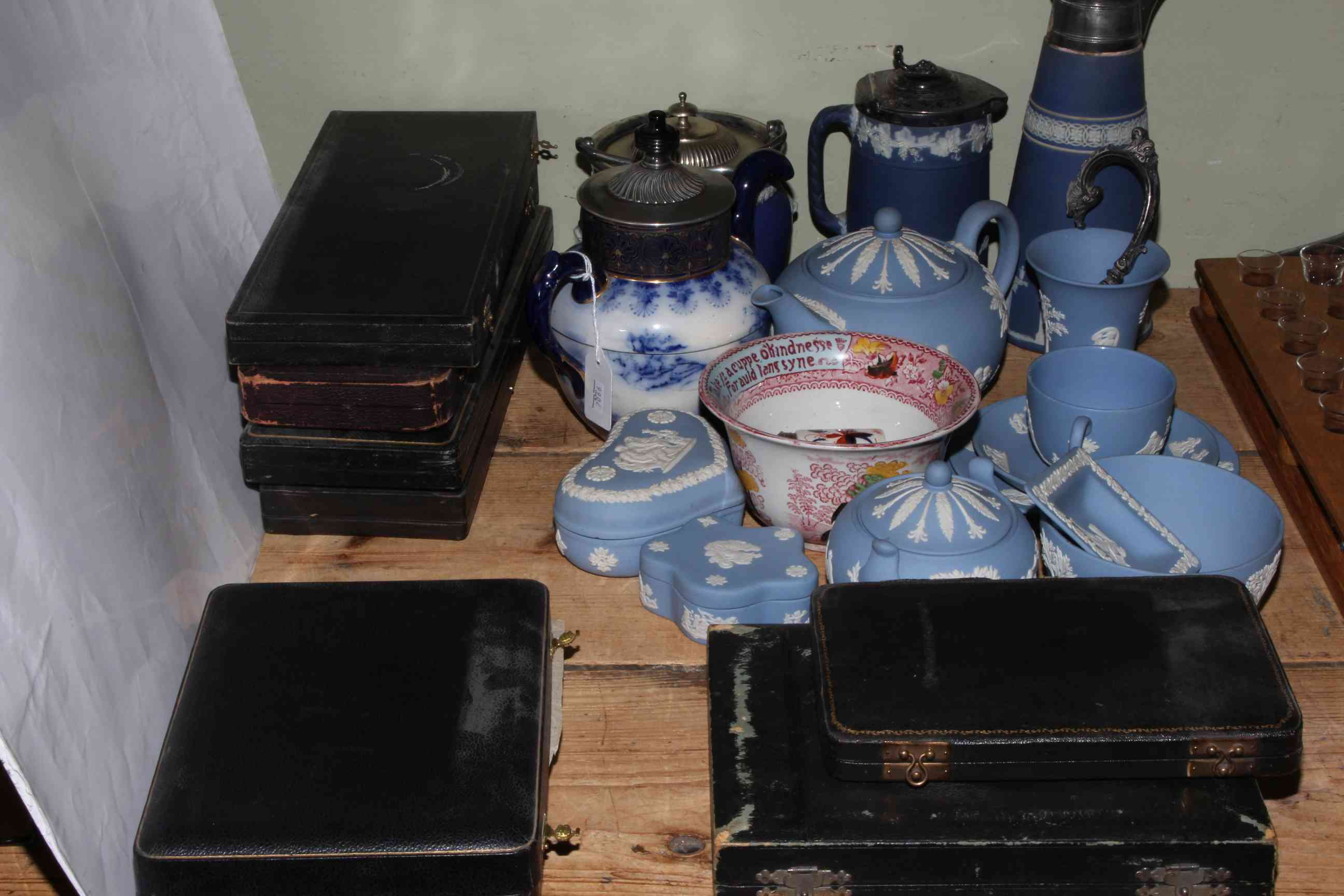 Lot 57 - Assortment of Wedgwood, Royal Doulton self-pouring teapot, cased EPNS cutlery sets etc.