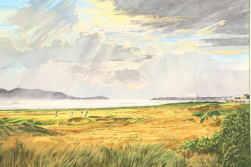 Lot 444 - Kenneth Reed ARR Gilt framed watercolour 'Royal Troon Golf Course' 49.5cm x 71.5cm