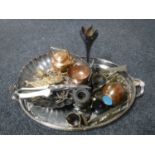 Lot 26 - A silver plated twin handled gallery tray, assorted plated and metal wares,