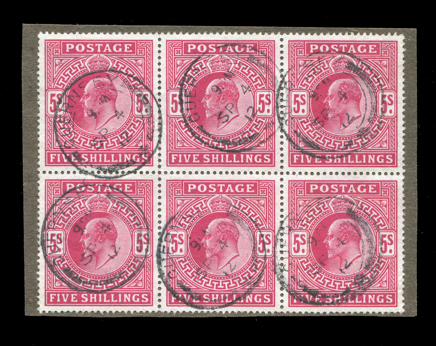 Lot 3006 - A Great Britain block of six on piece 1912 5 shillings Somerset House printing stamps (SG 318), very