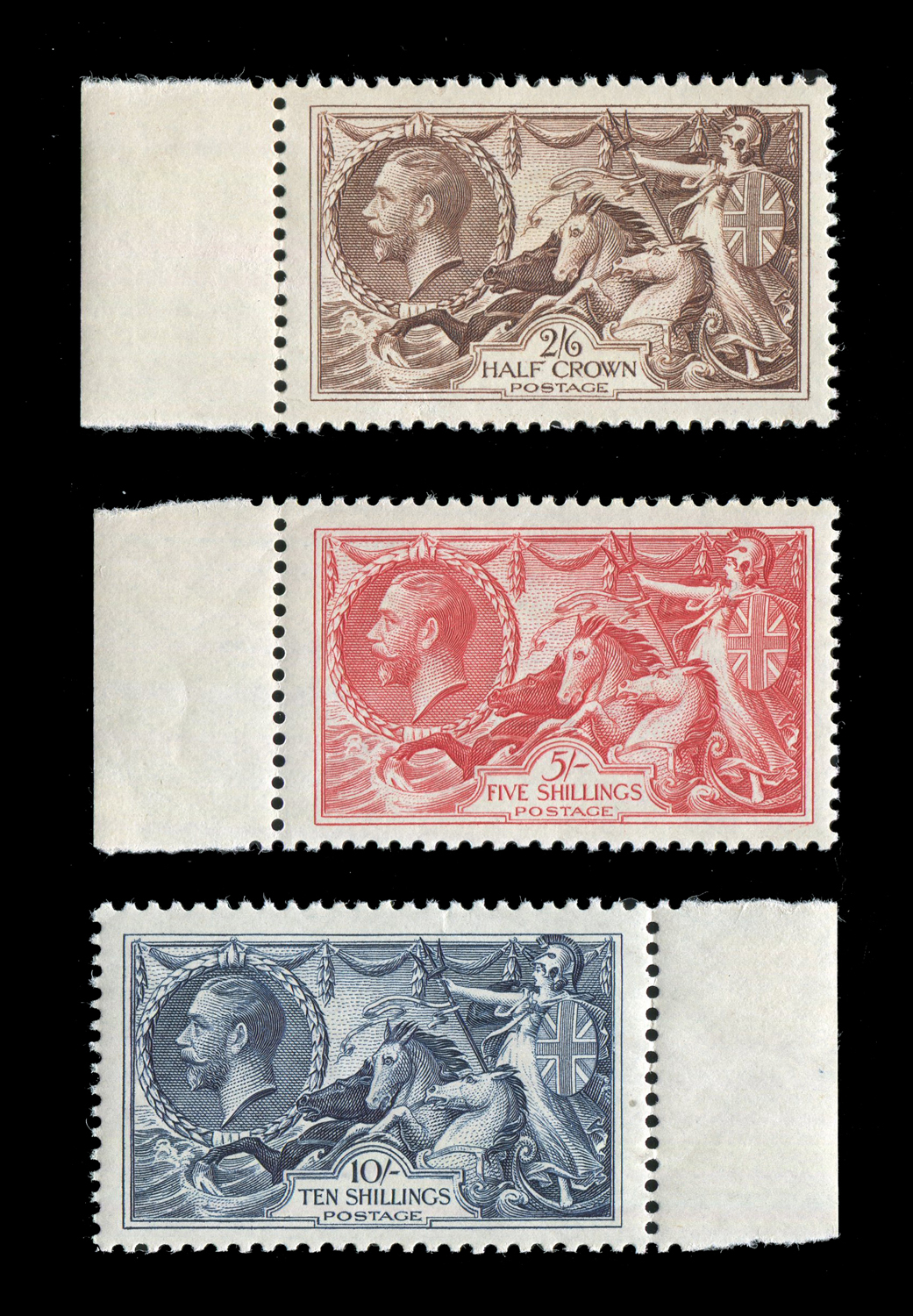 Lot 3007 - A Great Britain 1934 re-engraved 2/6d, 5 shillings, 10 shillings fine unmounted mint marginal set.