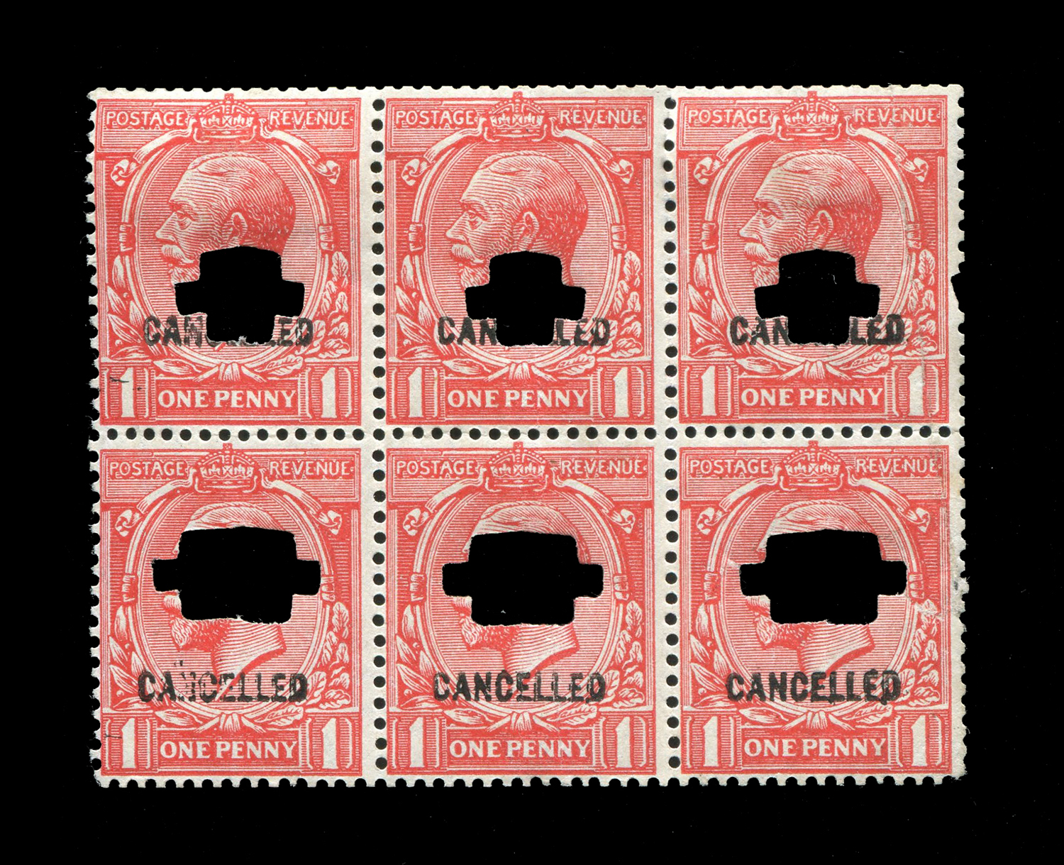Lot 3016 - A Great Britain 1924 ½d block of four stamps, 1d block of six 1½d booklet pane with two labels all