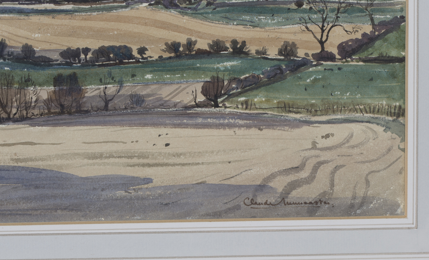 Lot 13 - Claude Muncaster - 'Spring coming among the Welsh Hills', 20th century watercolour, signed recto,