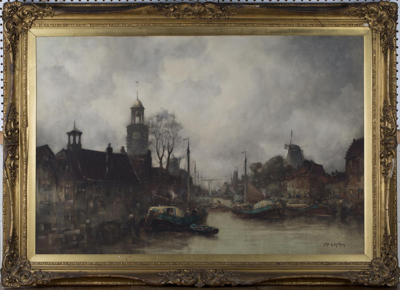 Lot 20 - John Ernest Aitken - 'Delfshaven, Rotterdam', 19th century watercolour, signed recto, titled label