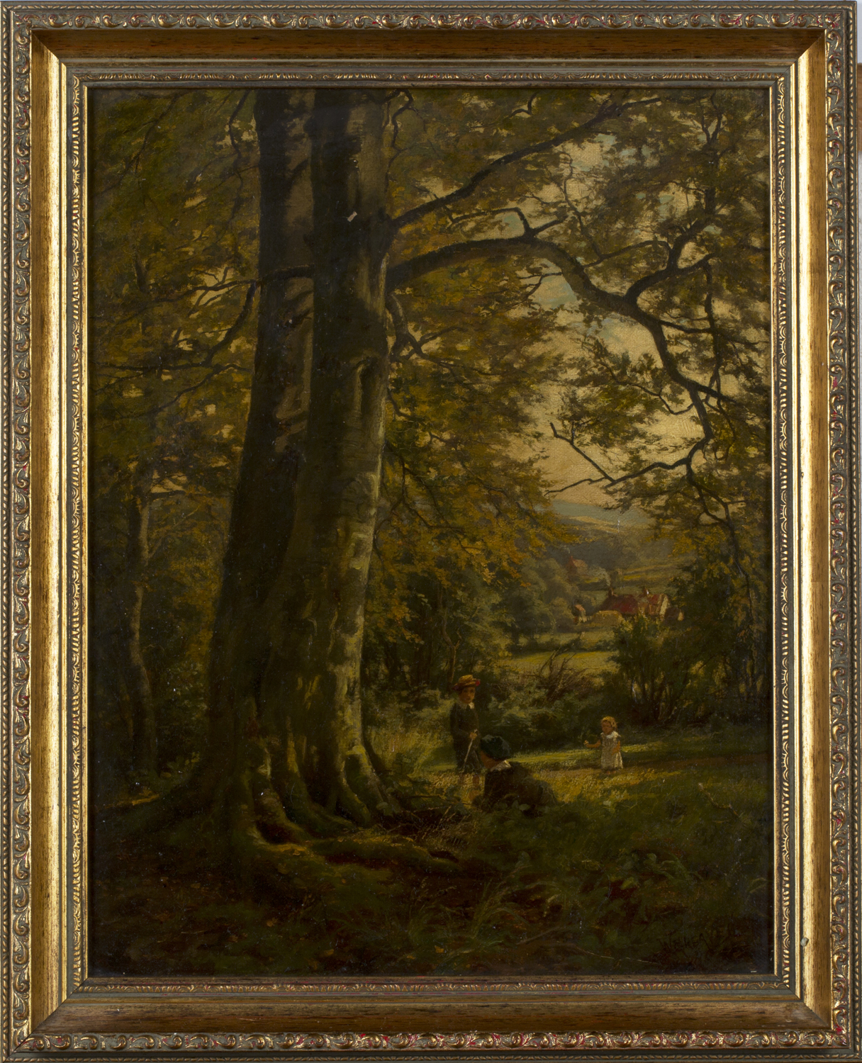 Lot 42 - William Greaves - Children under a Tree within a Landscape with Distant Farm, 19th century oil on