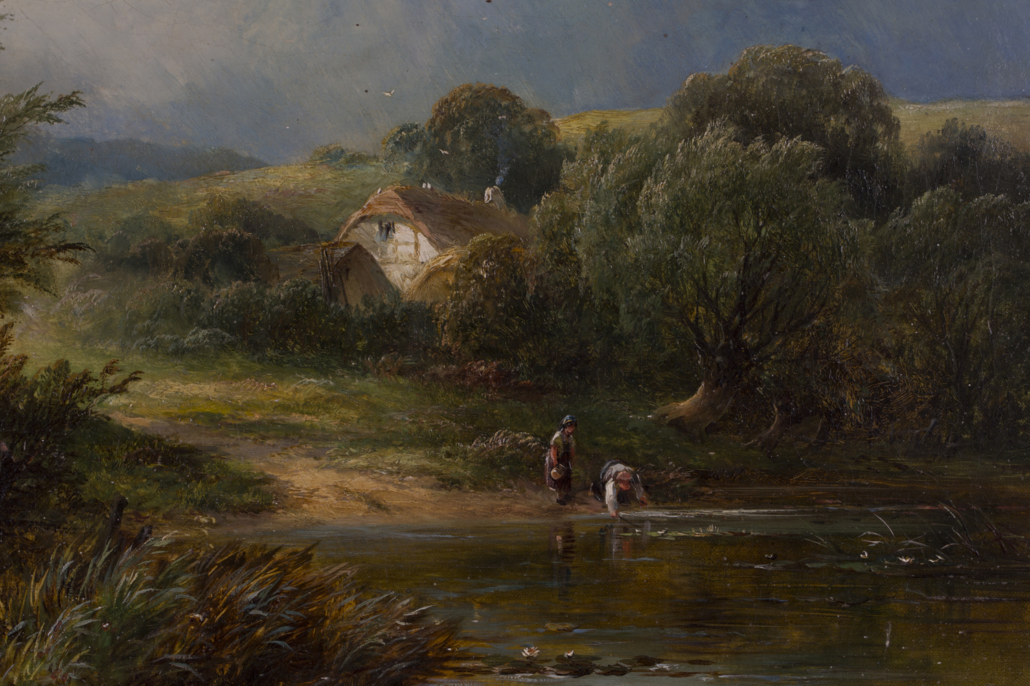 Lot 28 - George Turner - 'Scene nr Ingleby', 19th century oil on canvas, signed and titled verso, 39.5cm x