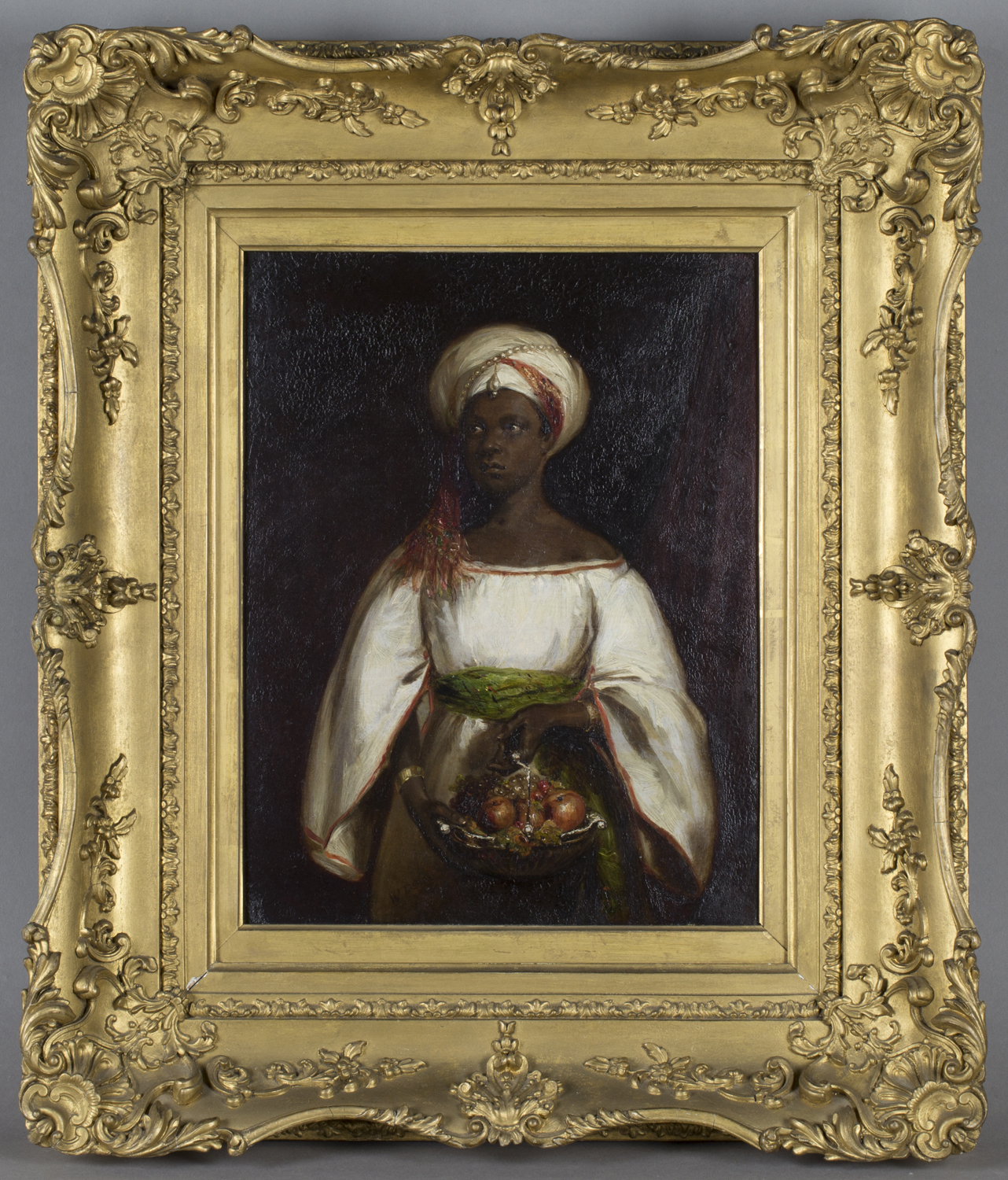 Lot 56 - William Derby - 'The Fruit Bearer', oil on panel, signed and dated 1844 recto, titled gallery