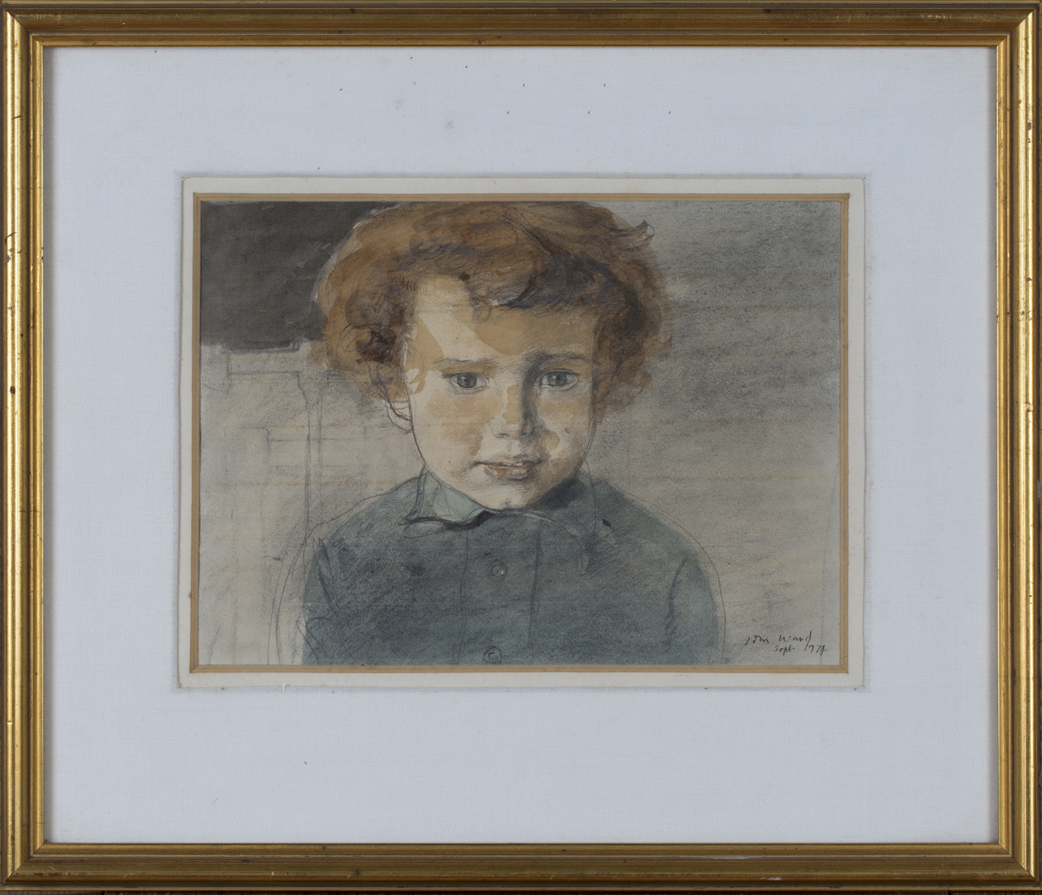 Lot 54 - John Stanton Ward - Portrait of a Boy, watercolour with ink, signed and dated 1974, 21.5cm x 30cm,