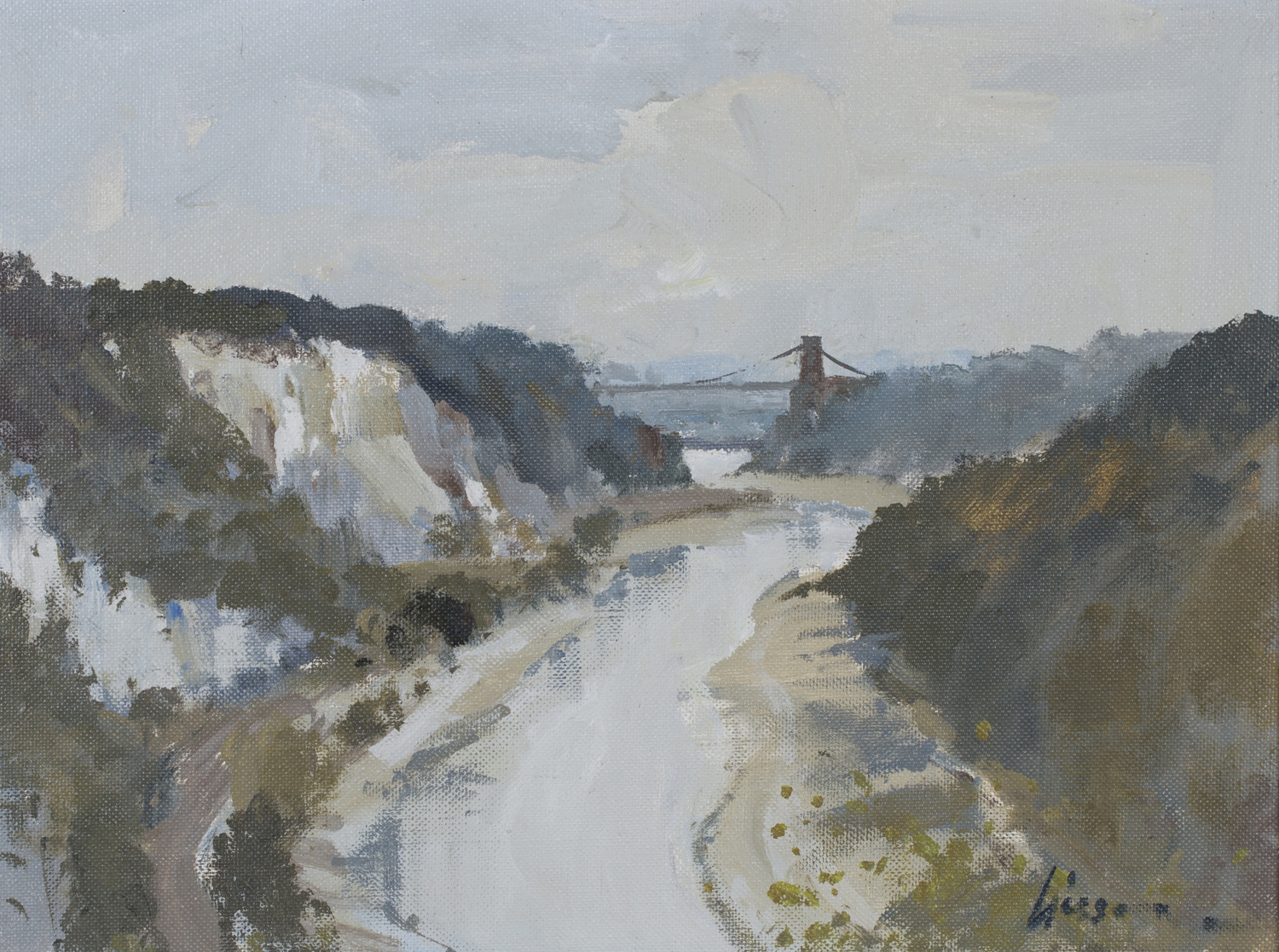 Lot 11 - Edward Wesson - 'The Avon Gorge' (View of the Clifton Suspension Bridge, Bristol), 20th century