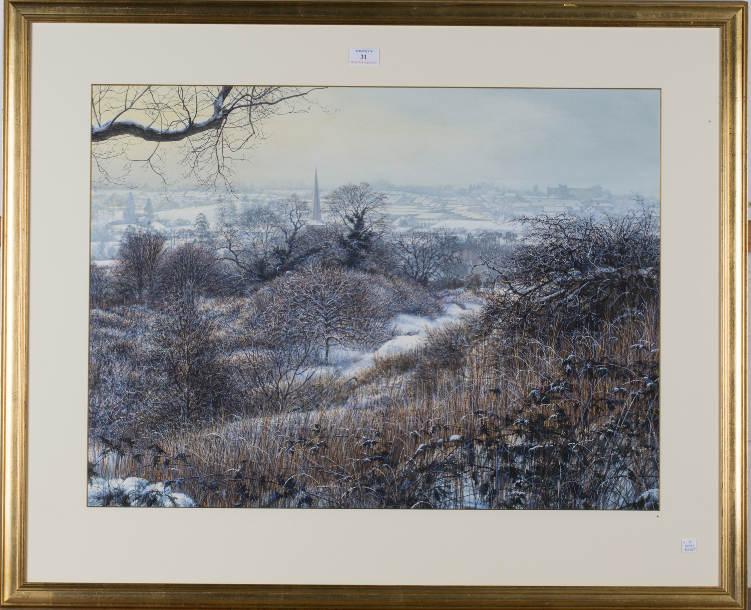 Lot 31 - Circle of Martin Taylor - Extensive Winter Landscape, 20th century watercolour with gouache, 54cm