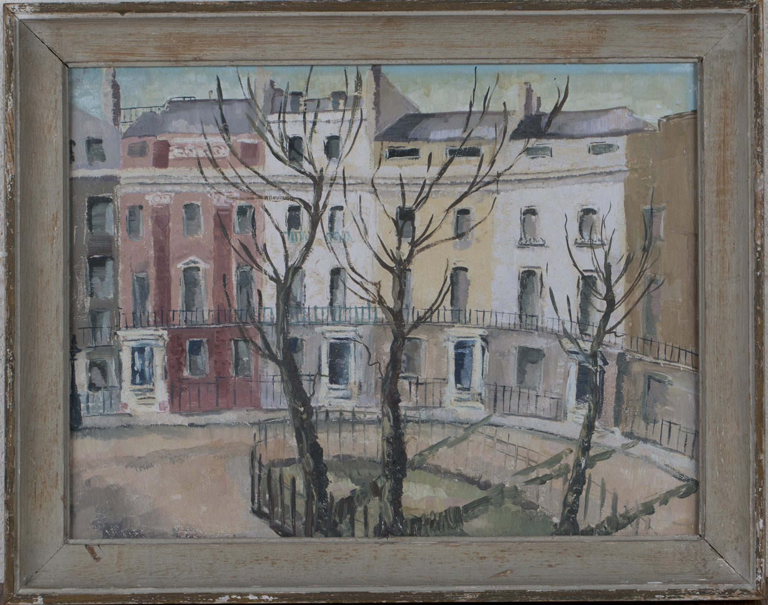 Lot 19 - Circle of Carel Weight - View of a Crescent of Houses, 20th century oil on board, 30cm x 40cm,