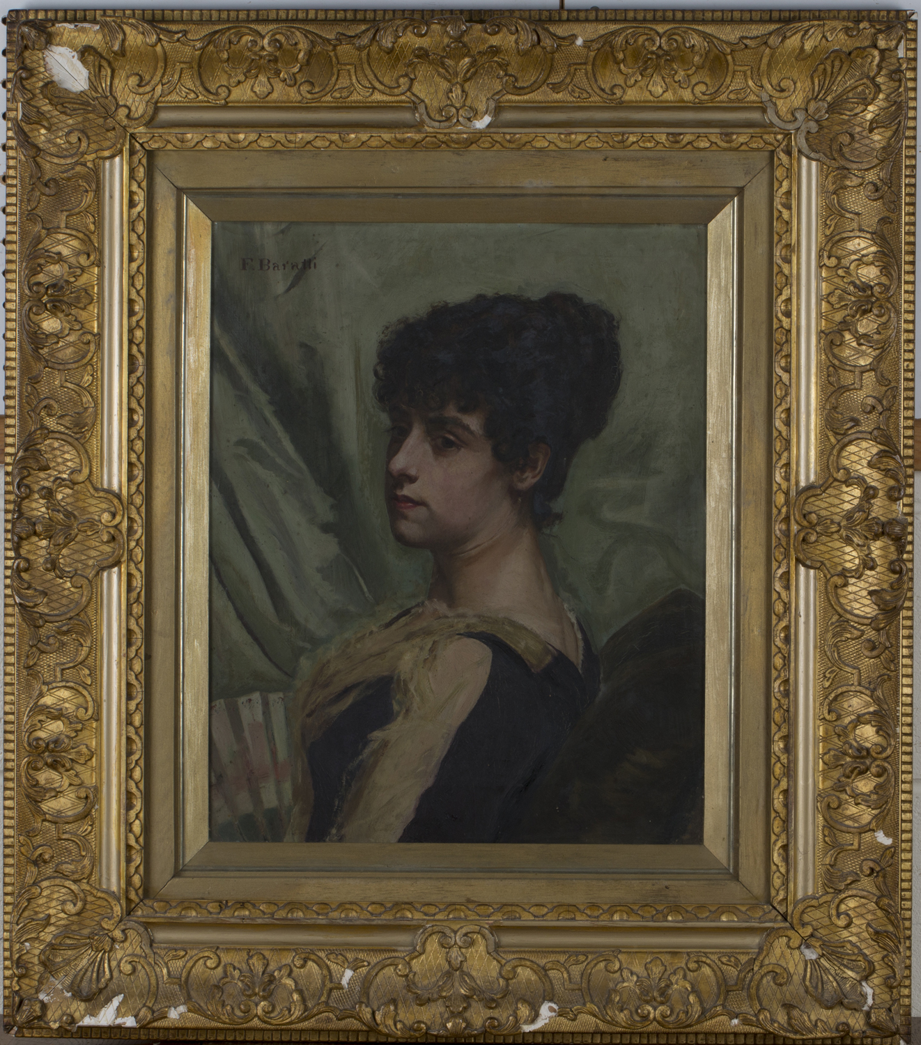 Lot 51 - Filippo Baratti - Portrait of a Lady with a Fan, late 19th/early 20th century oil on canvas, signed,