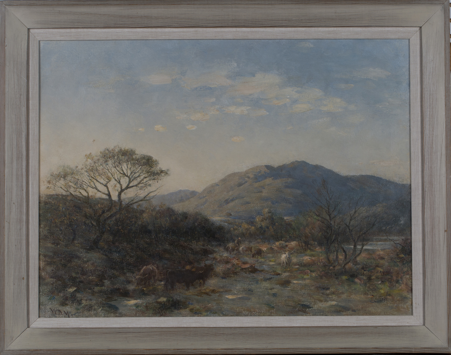 Lot 50 - William Darling McKay - Cattle and Drover in a Landscape, early 20th century oil on canvas, signed