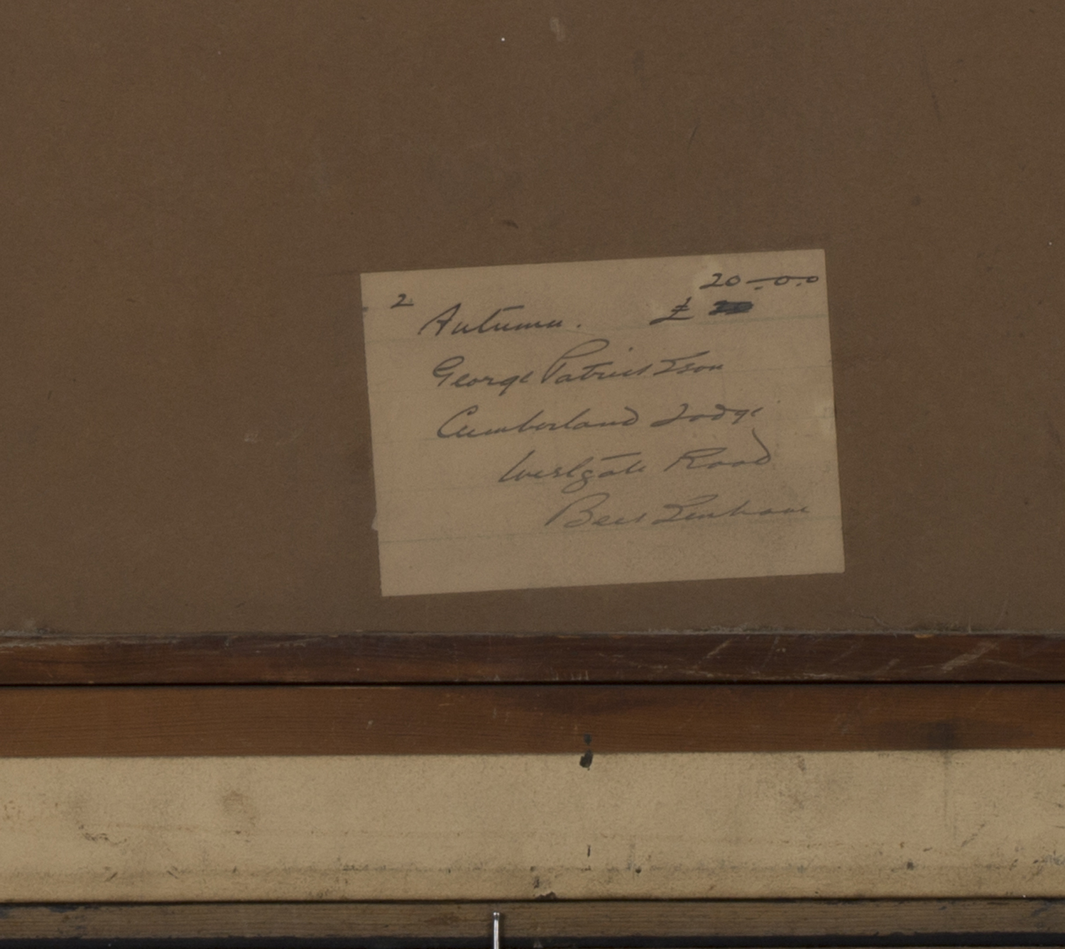 Lot 46 - George Patrickson - 'Autumn', early 20th century watercolour, signed and dated '13 recto, titled