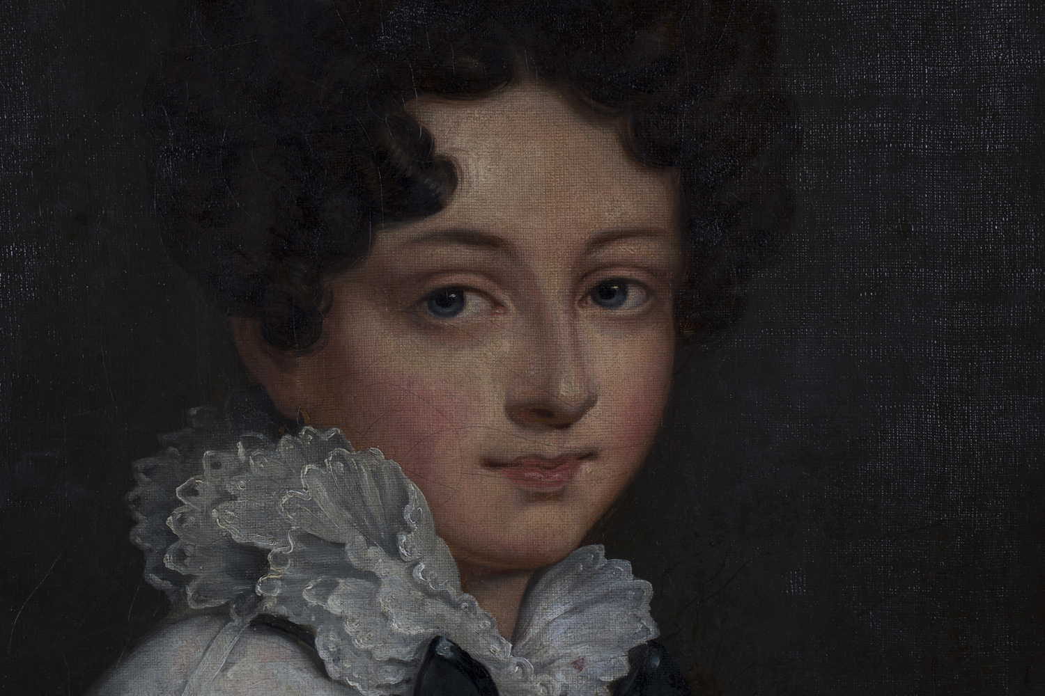 Lot 27 - Continental School - Portrait of a Lady wearing a Silk and Lace Dress with White Ruff, oil on