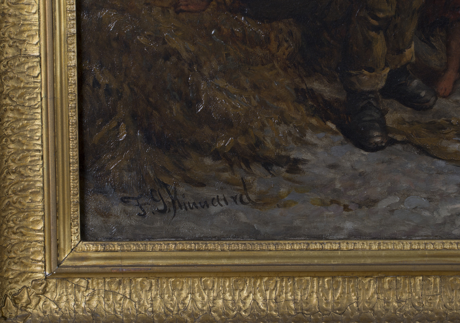 Lot 35 - Frederick Gerald Kinnaird - Figures with a Dog on a Rocky Shore, 19th century oil on canvas, signed,