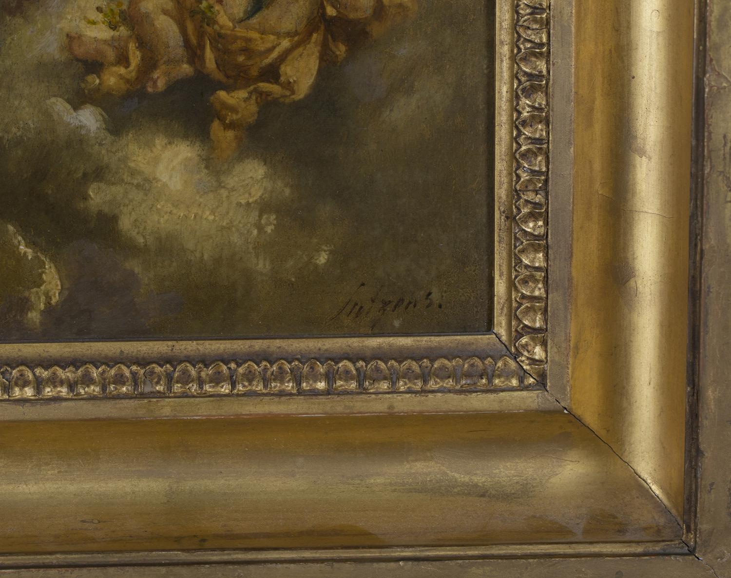Lot 40 - Circle of Charles Augustus H. Lutyens - Three Putti with Flowers on Clouds, late 19th/early 20th