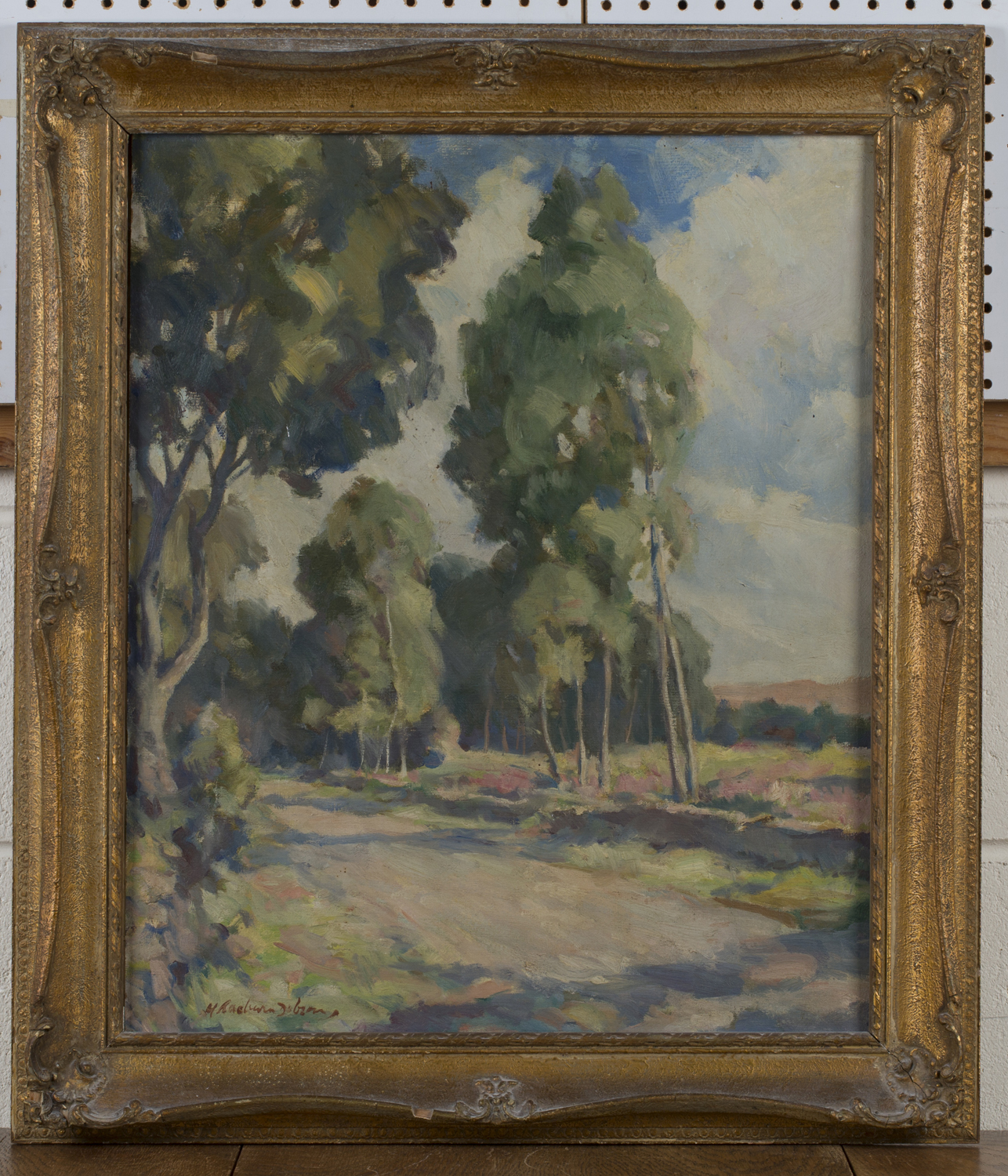 Lot 1 - Henry Raeburn Dobson - Landscape with Trees, oil on canvas-board, signed, 60cm x 49.5cm, within a