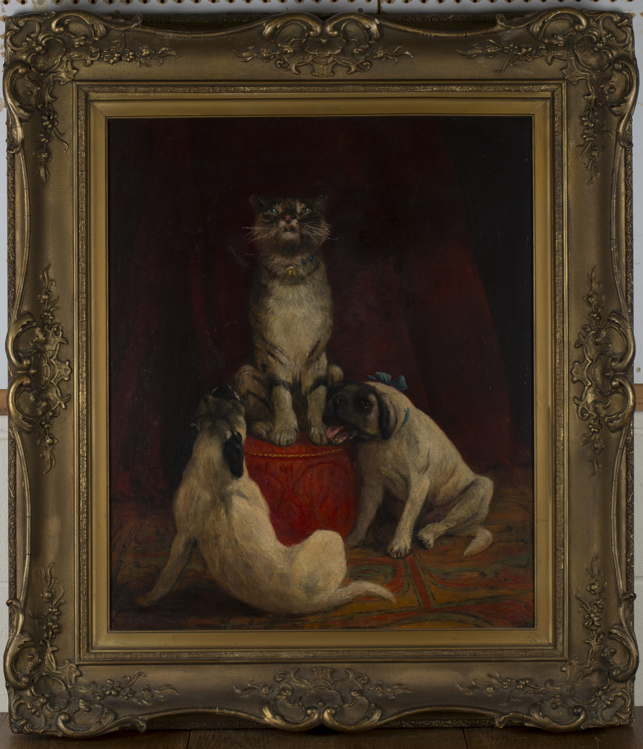 Lot 29 - Frederick Thomas Daws - The Crescendo (Two Pug Dogs and a Cat), late 19th/early 20th century oil