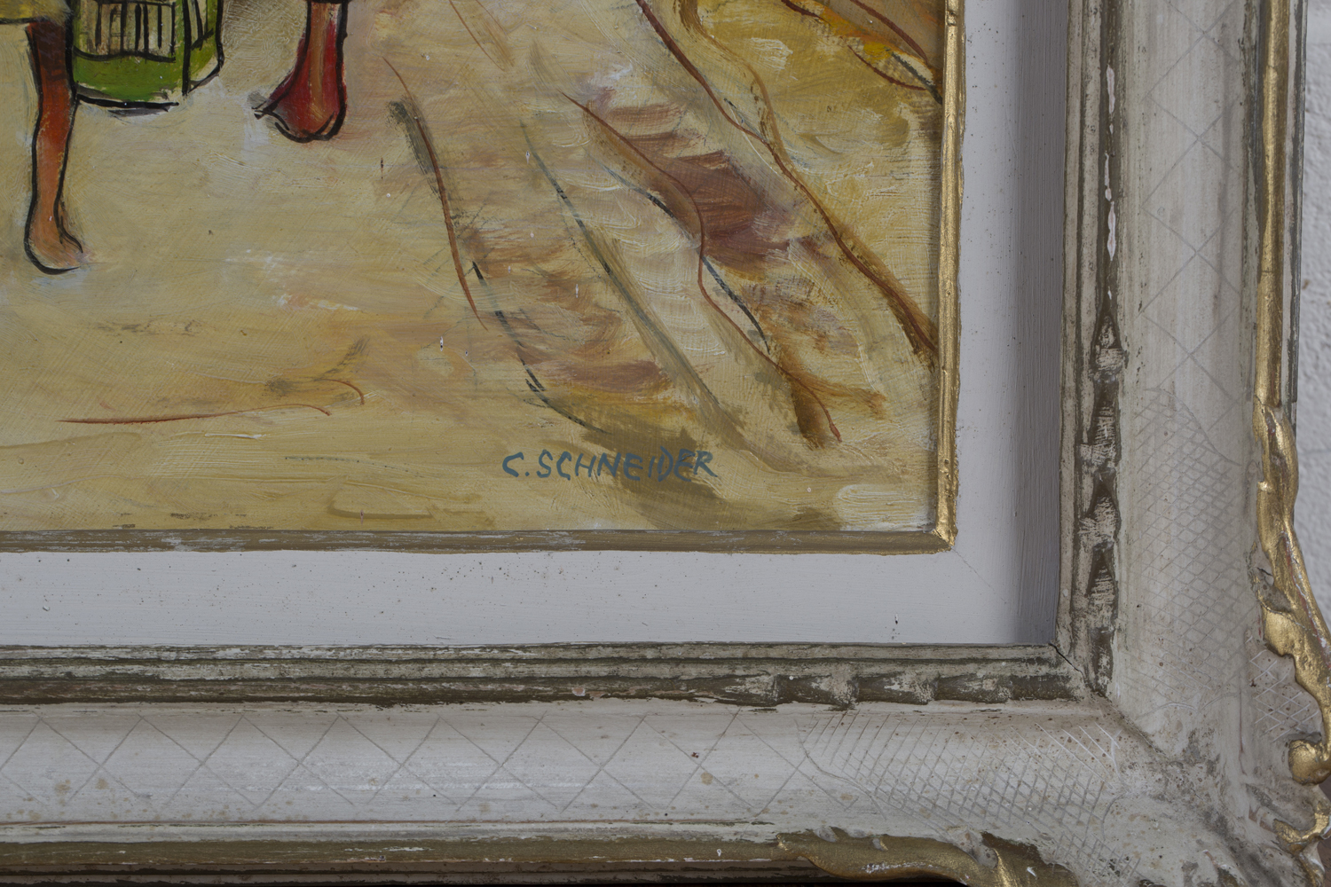Lot 2 - Charles Schneider - 'Zingari' (Caravan and Figures on a Country Road), oil on board, signed recto,