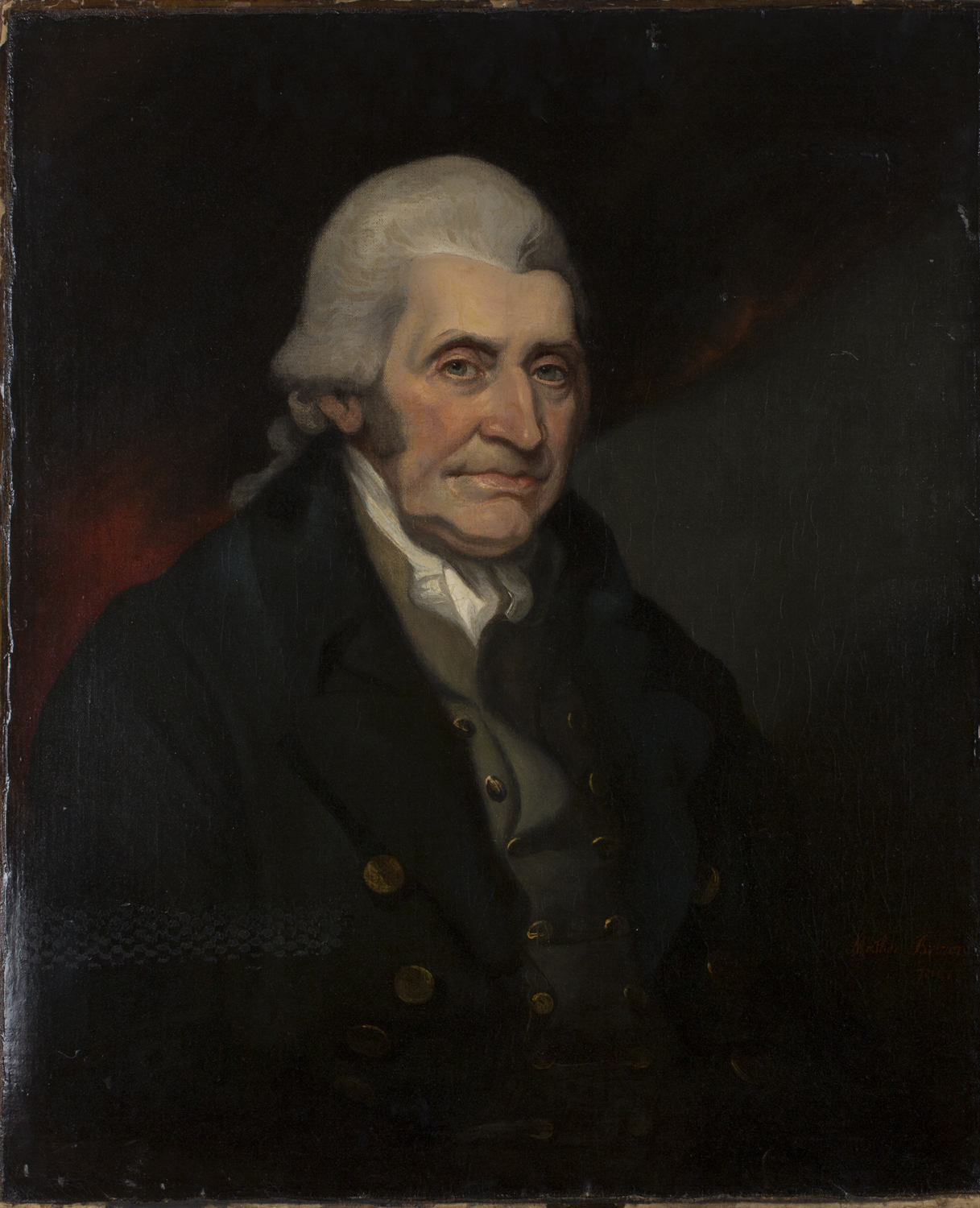 Lot 8 - Mather Brown - Portrait of Henry Blundell, early 19th century oil on canvas, signed recto, label
