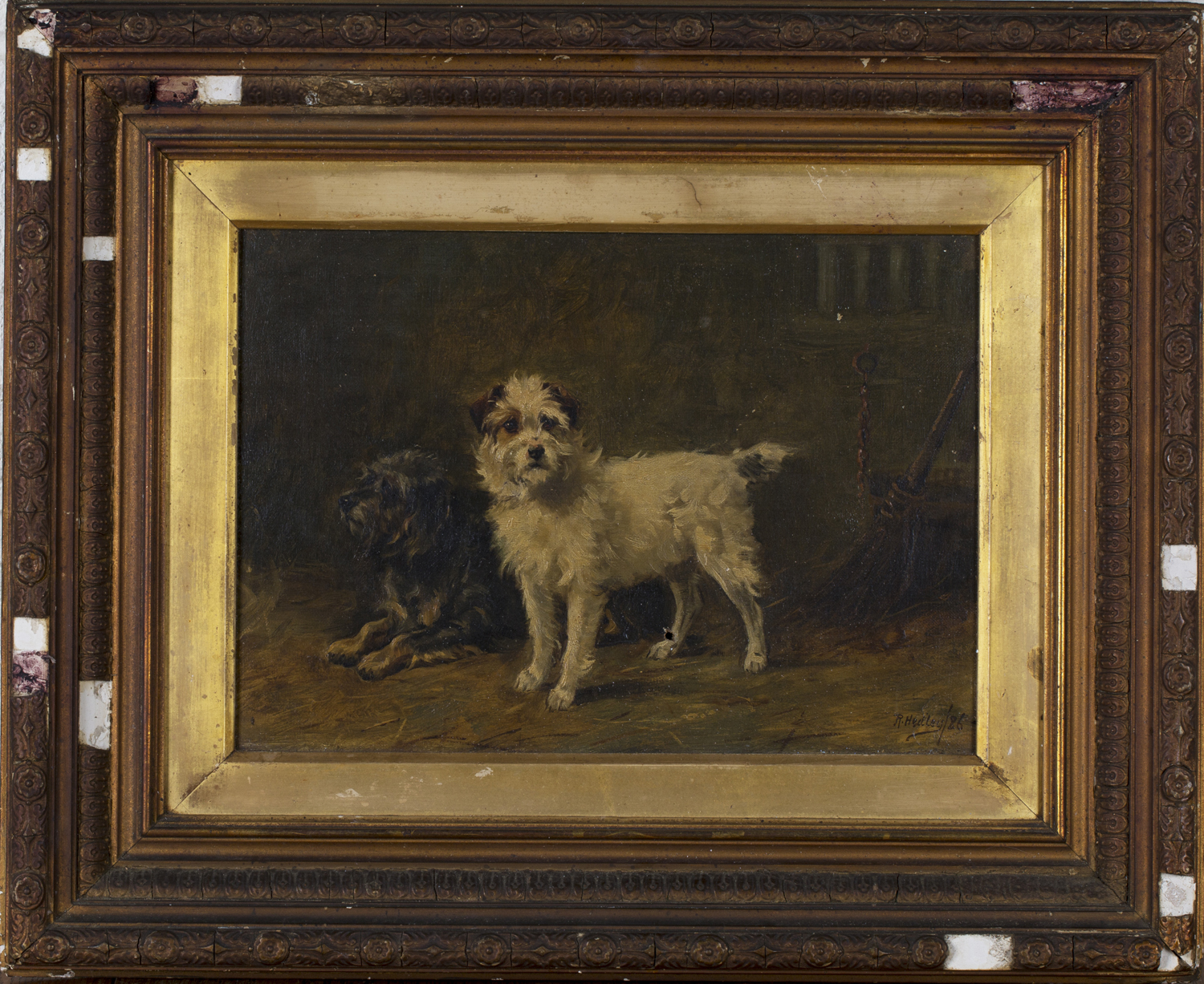 Lot 41 - Ralph Hedley - Two Terriers in a Stable Interior, 19th century oil on canvas, signed and dated '