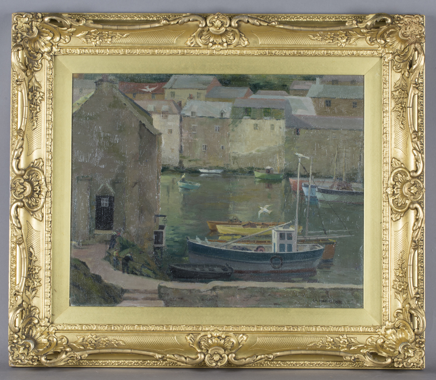 Lot 59 - J.M. Charles - Polperro Harbour, Cornwall, oil on canvas, signed and dated 1952, 39cm x 49cm, within