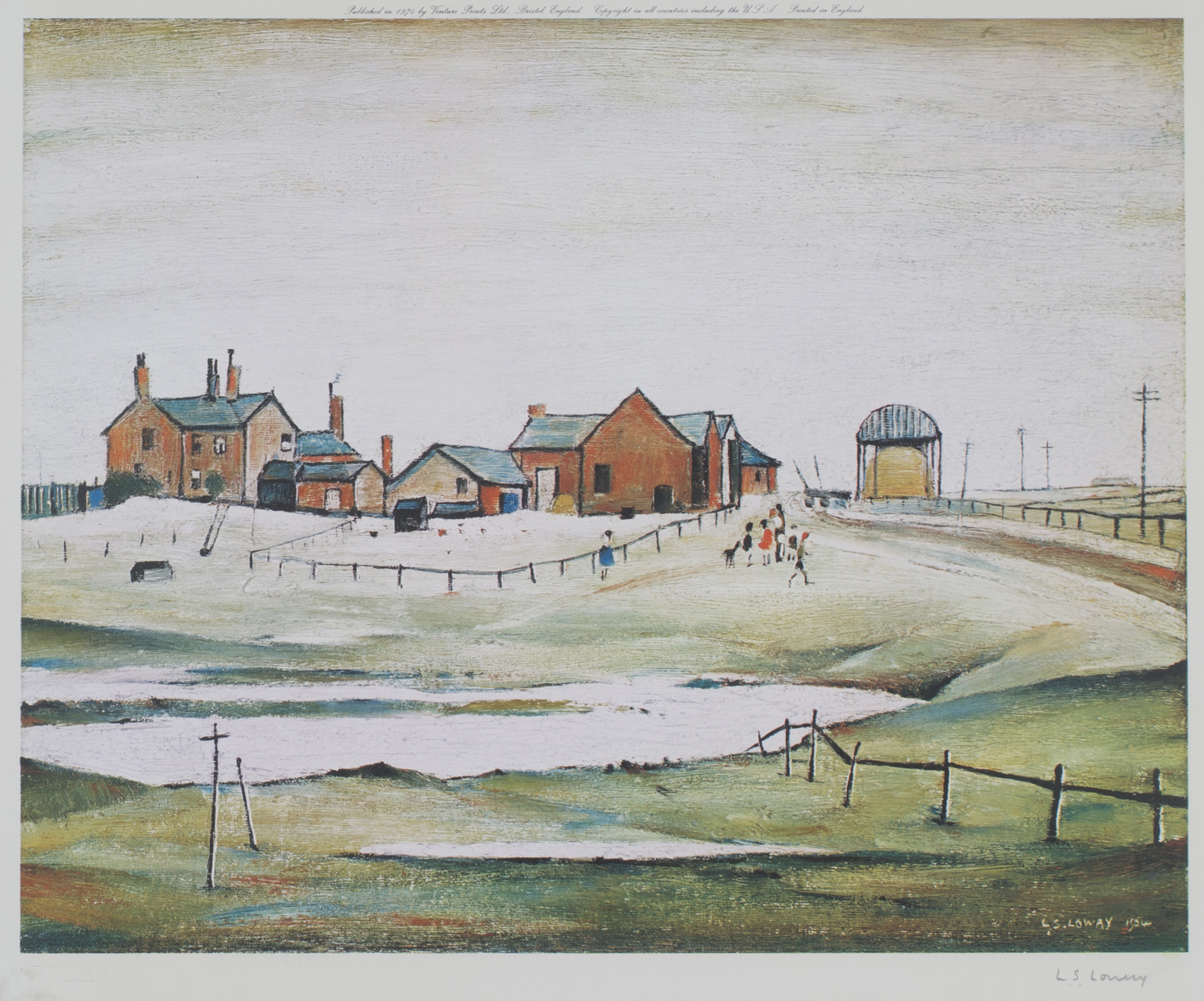 Lot 15 - L.S. Lowry - Landscape with Farm Buildings, colour print, published by Venture Prints circa 1974,