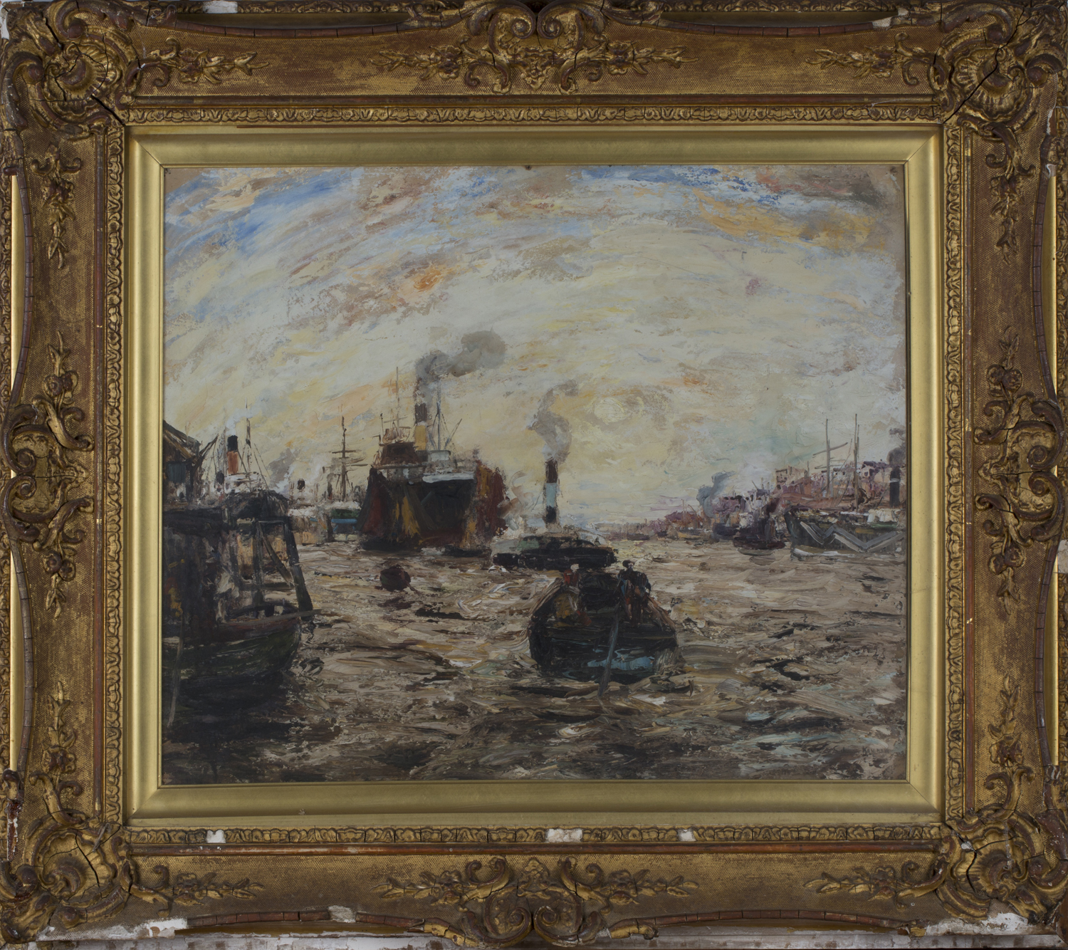 Lot 45 - James Kay - Maritime Scene with Vessels including a Dazzle Ship in a Harbour, probably the Clyde,