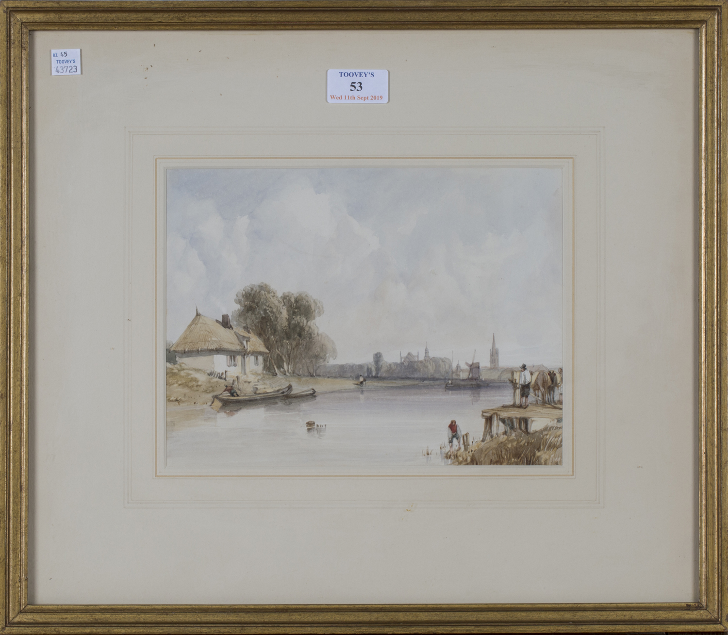 Lot 53 - Attributed to Alfred Gomersal Vickers - 'The Ferry', 19th century watercolour, titled verso, 18.